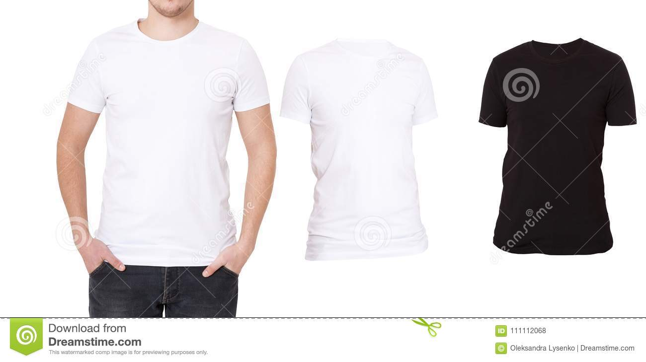 T Shirt Template Front View Mock Up Isolated On White Background