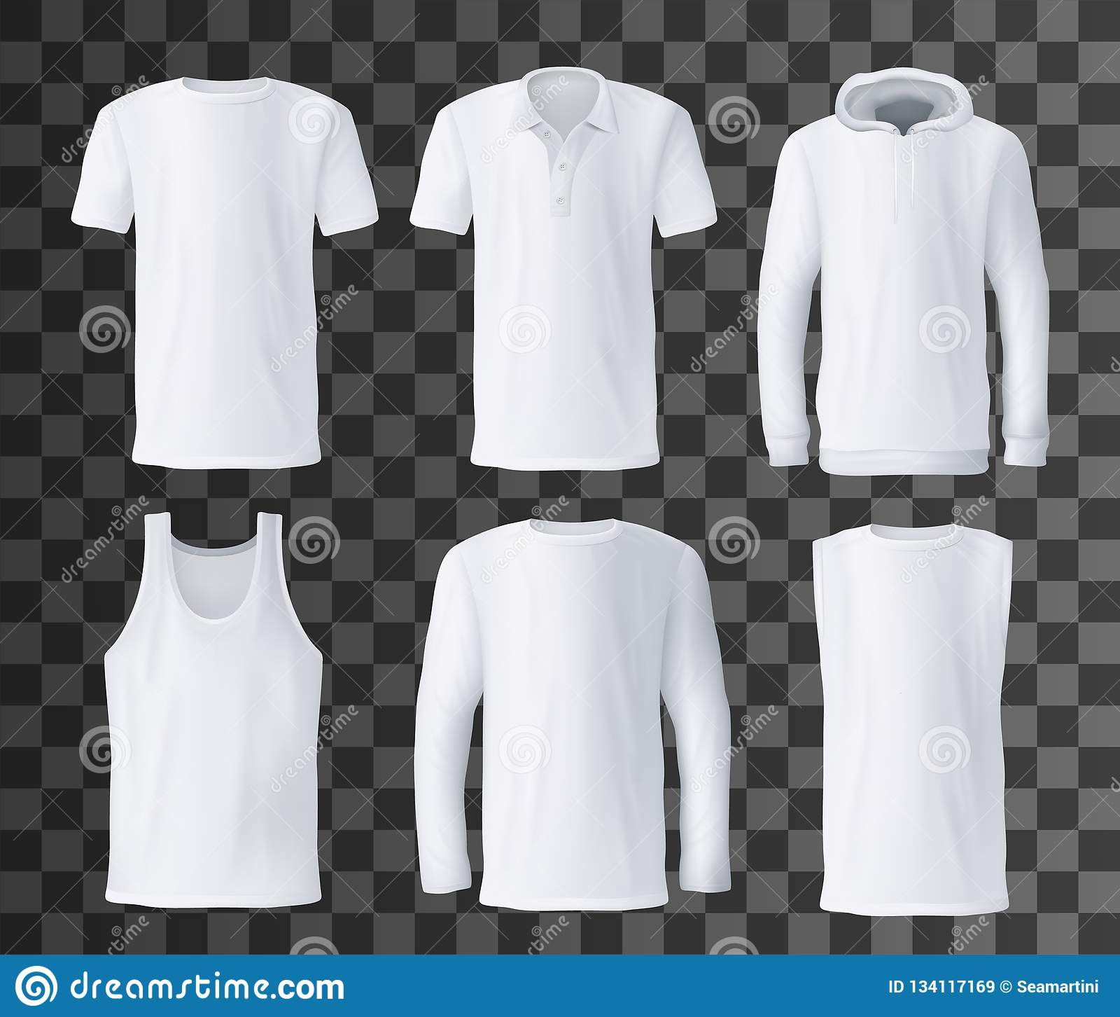 9028b0169d962 T-shirt template with front view of white men shirts mockup. Polo