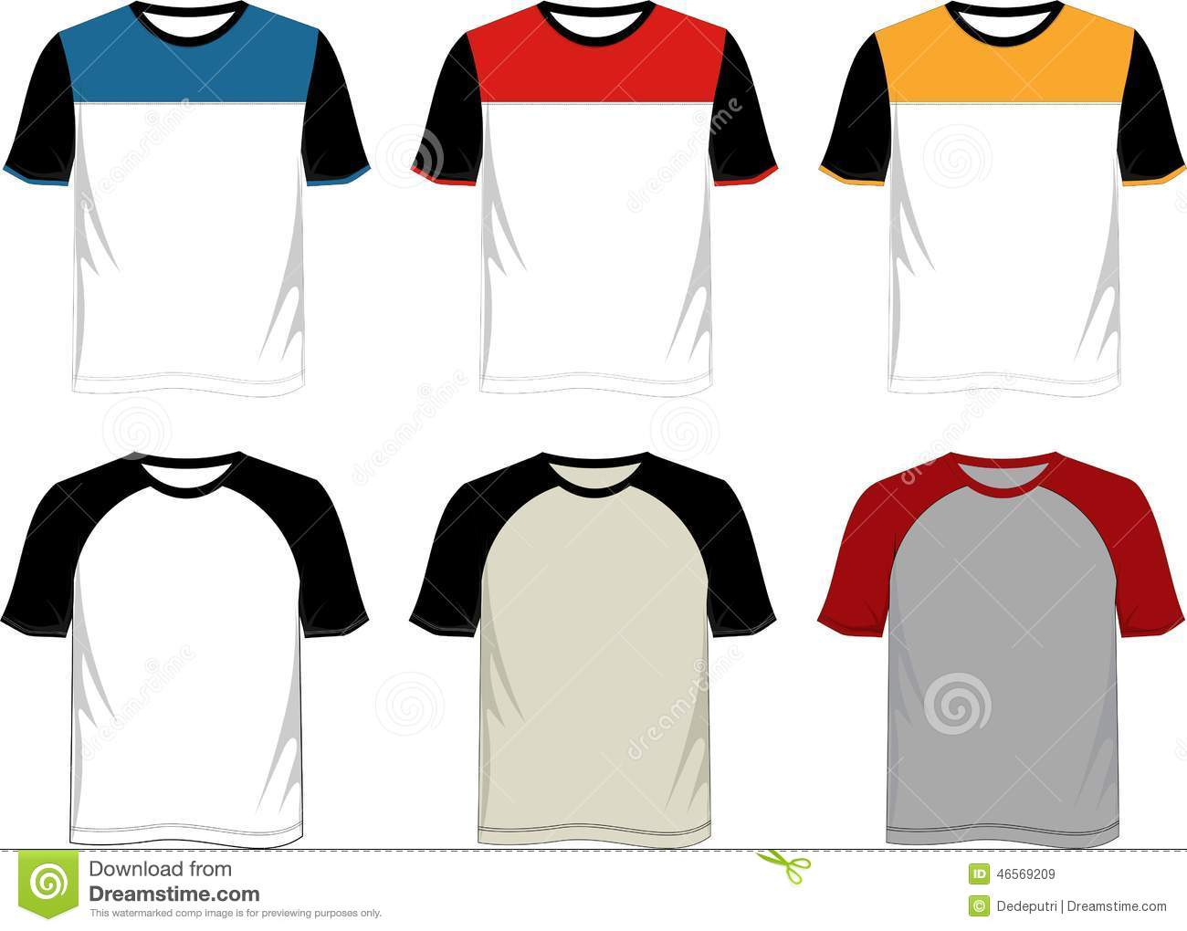 T Shirt Template Raglan Stock Vector Illustration Of Color 46569209