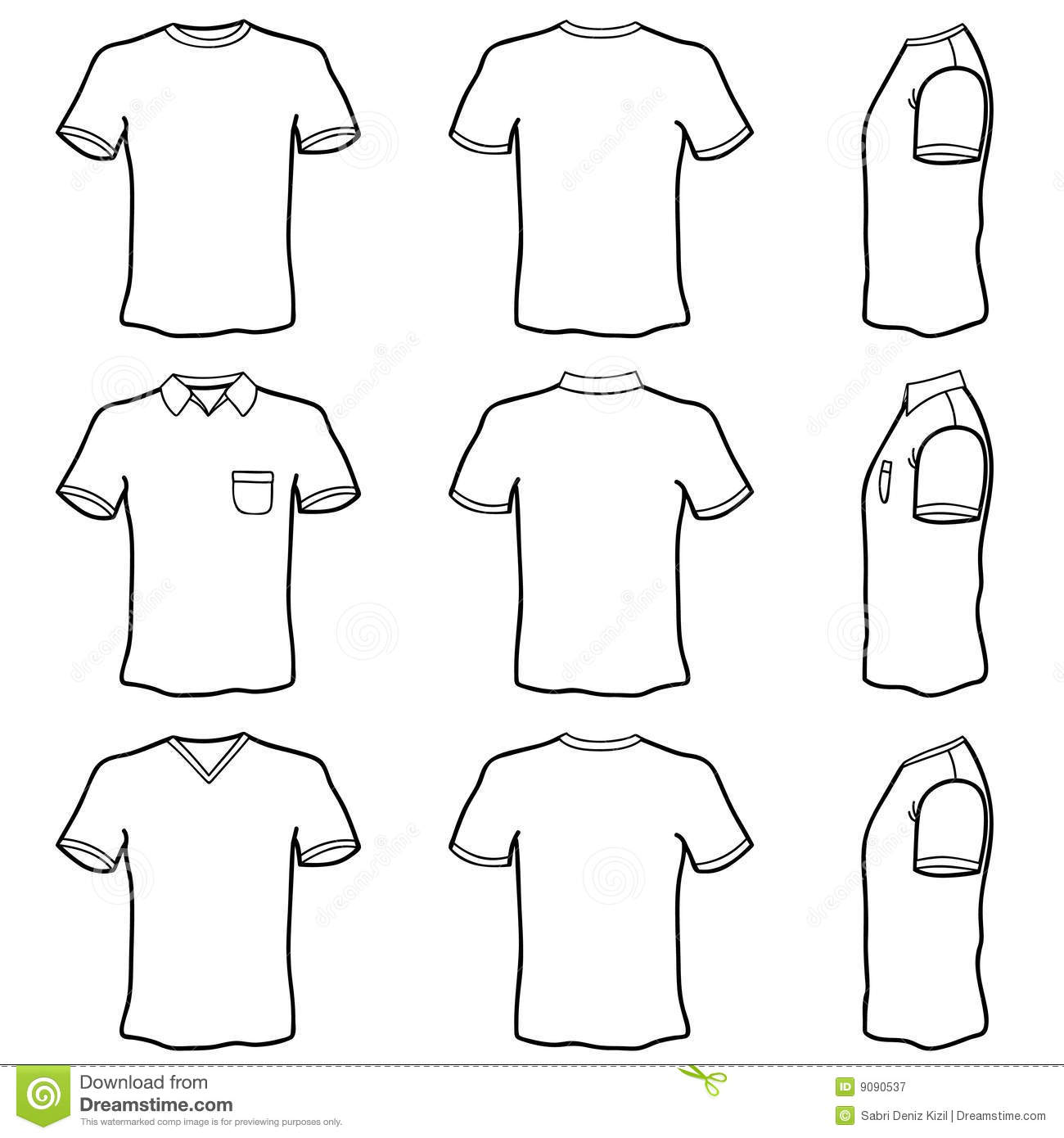 T shirt template set stock vector. Illustration of dress - 9090537