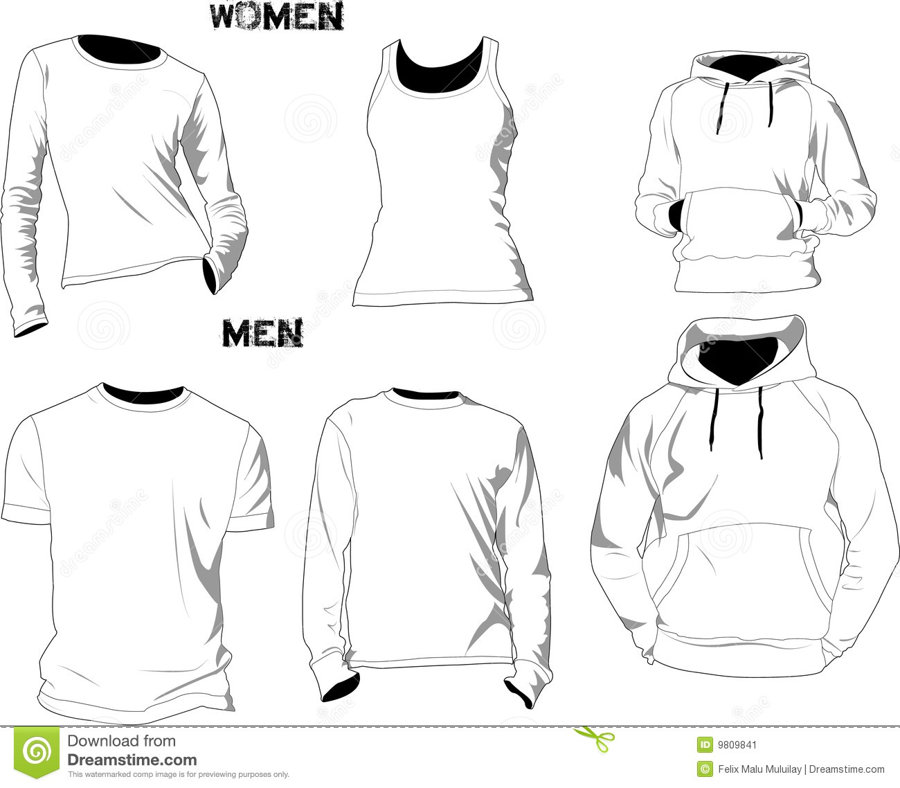 T shirt templates stock vector illustration of fashion for Website where you can design your own shirt