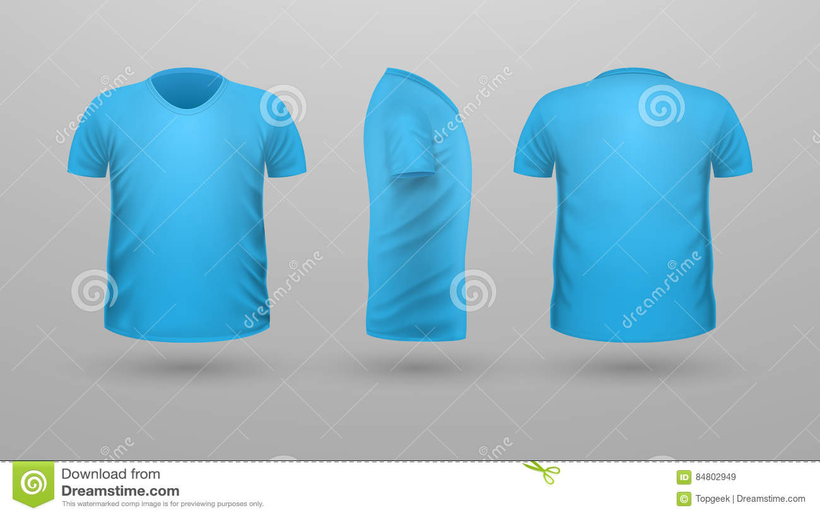 T Shirt Teplate Satz Front Side Back View Vektor Vektor Abbildung