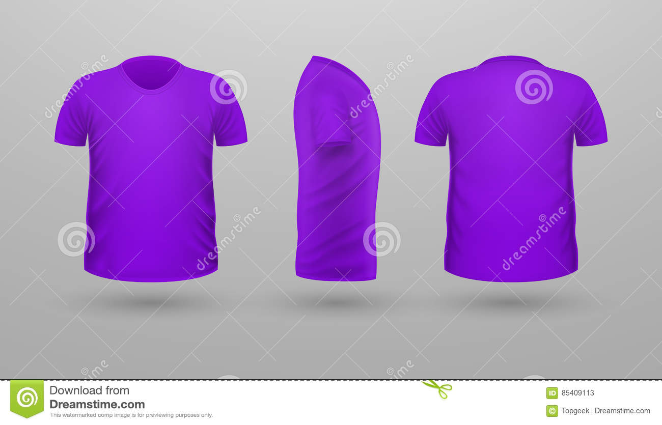 T-shirt Teplate Set. Front Side Back View. Vector Stock Vector ...