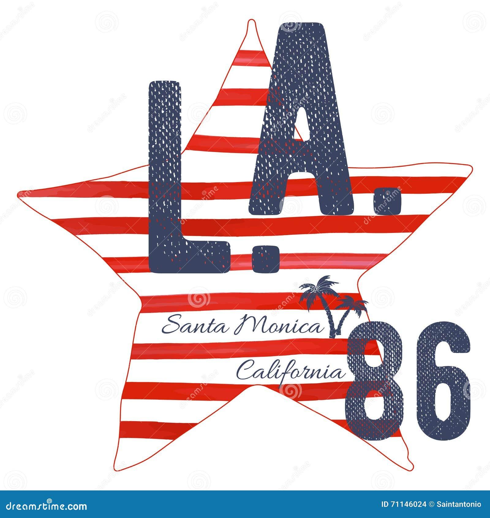 Shirt design los angeles - T Shirt Typography Design La California Santa Monica Beach Printing Graphics Typographic Vector