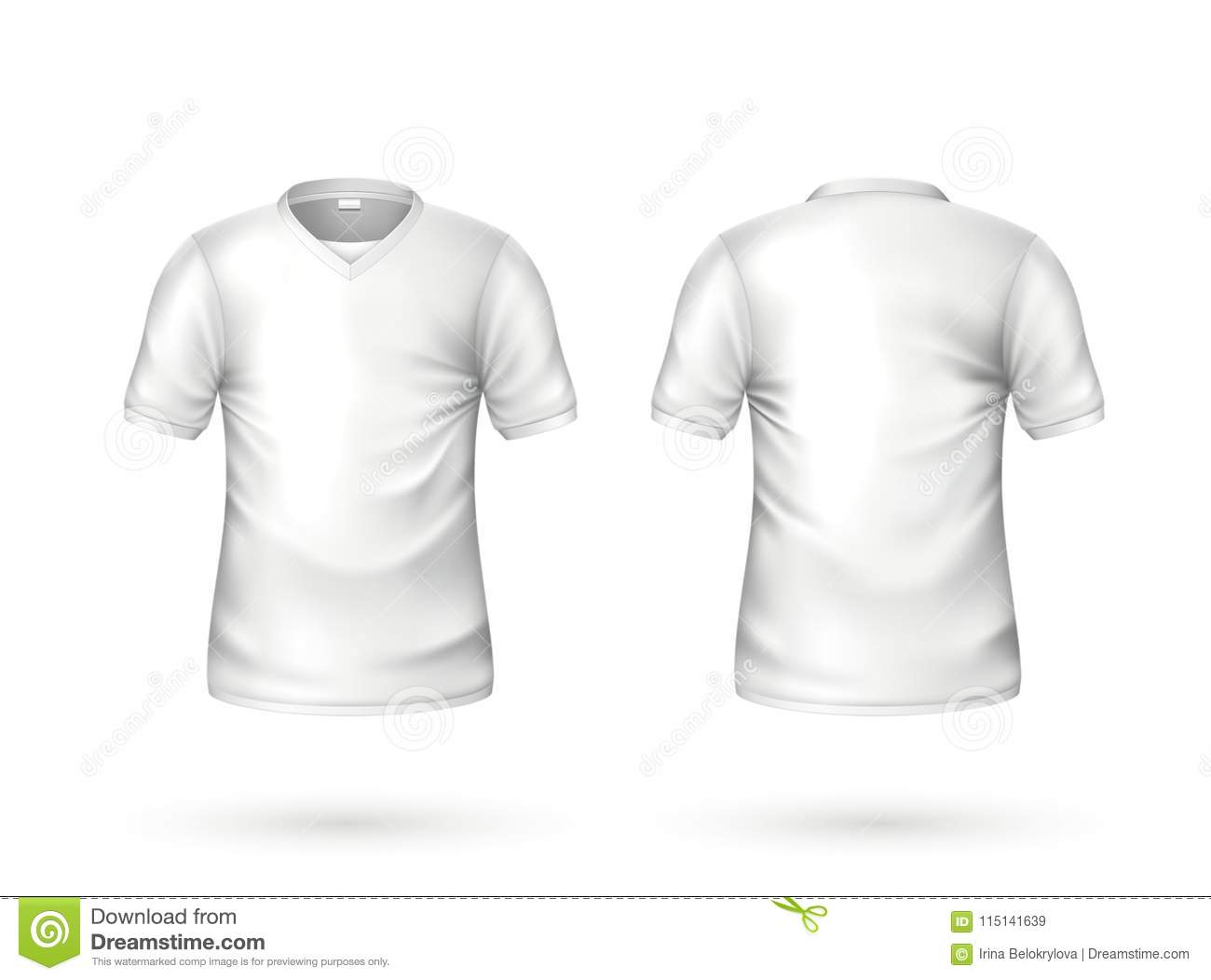 cb98db29 T-shirt white mockup. Realistic unisex male female blank clothing template.  Men, women cotton apparel front, back view. Casual wear, ready for your  design.