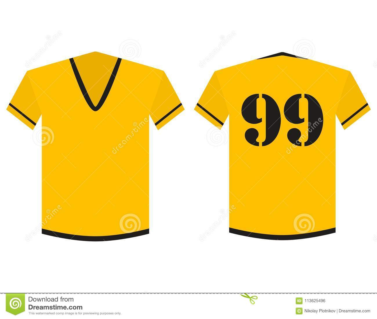 T Shirt Yellow And Black Soccer Or Football Template For Team Club Isolated On White