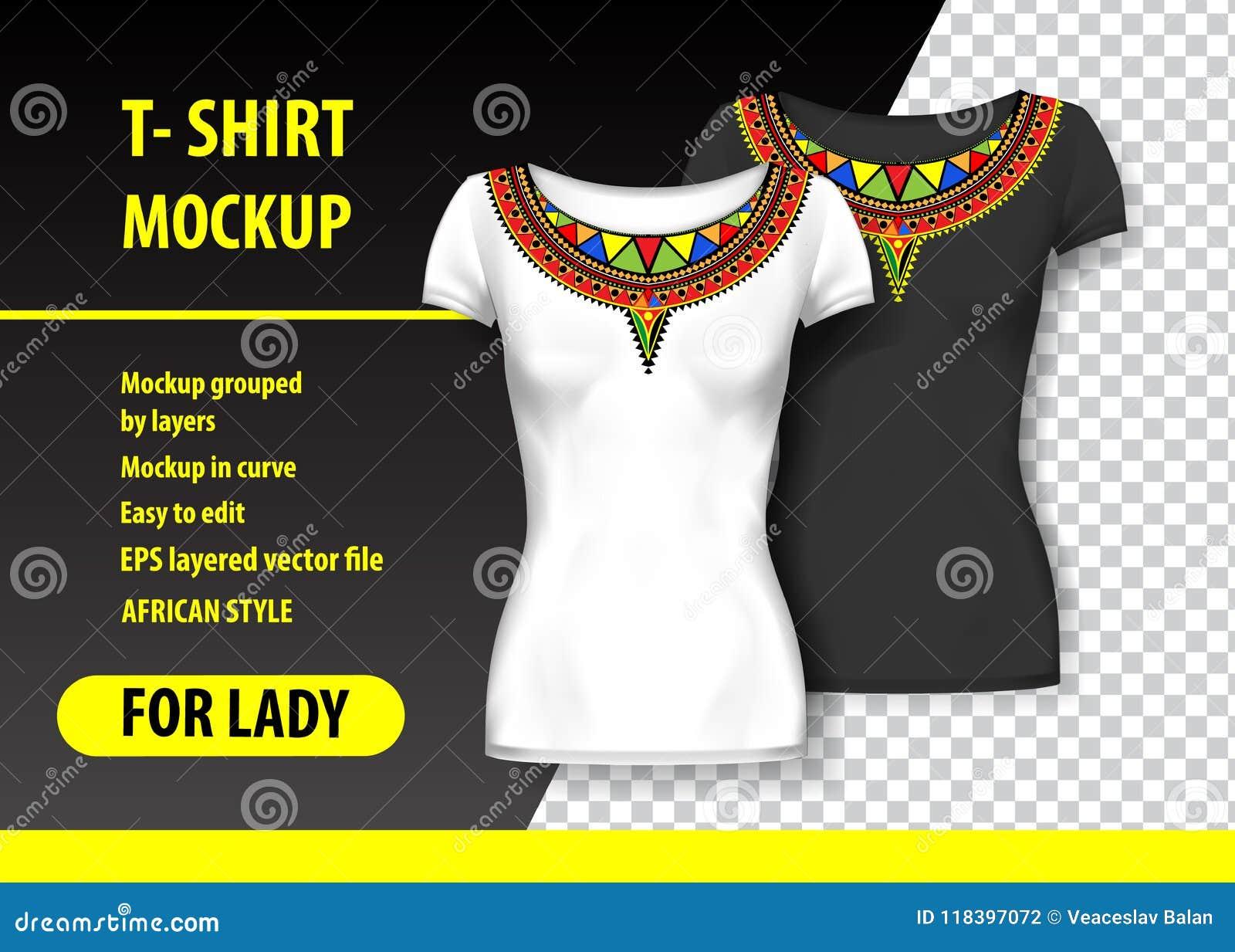 T-shirtmodel met Afrikaanse ornamenten in twee kleuren Gelaagd en editable model