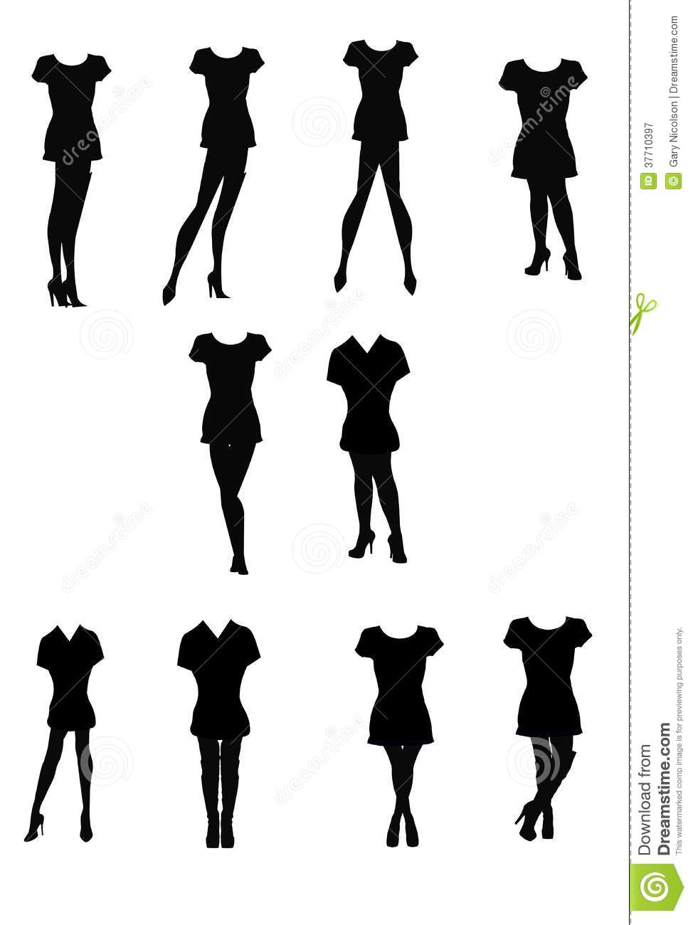 T Shirts And Legs Silhouettes Royalty Free Stock ...