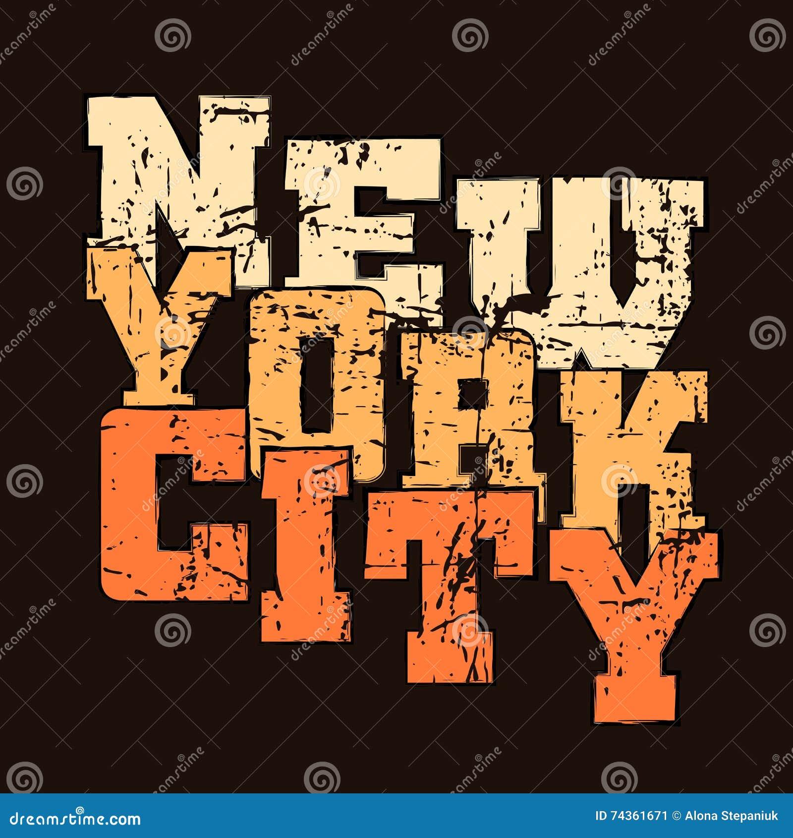T typografii koszulowych grafika Nowy Jork Sportowy styl NYC