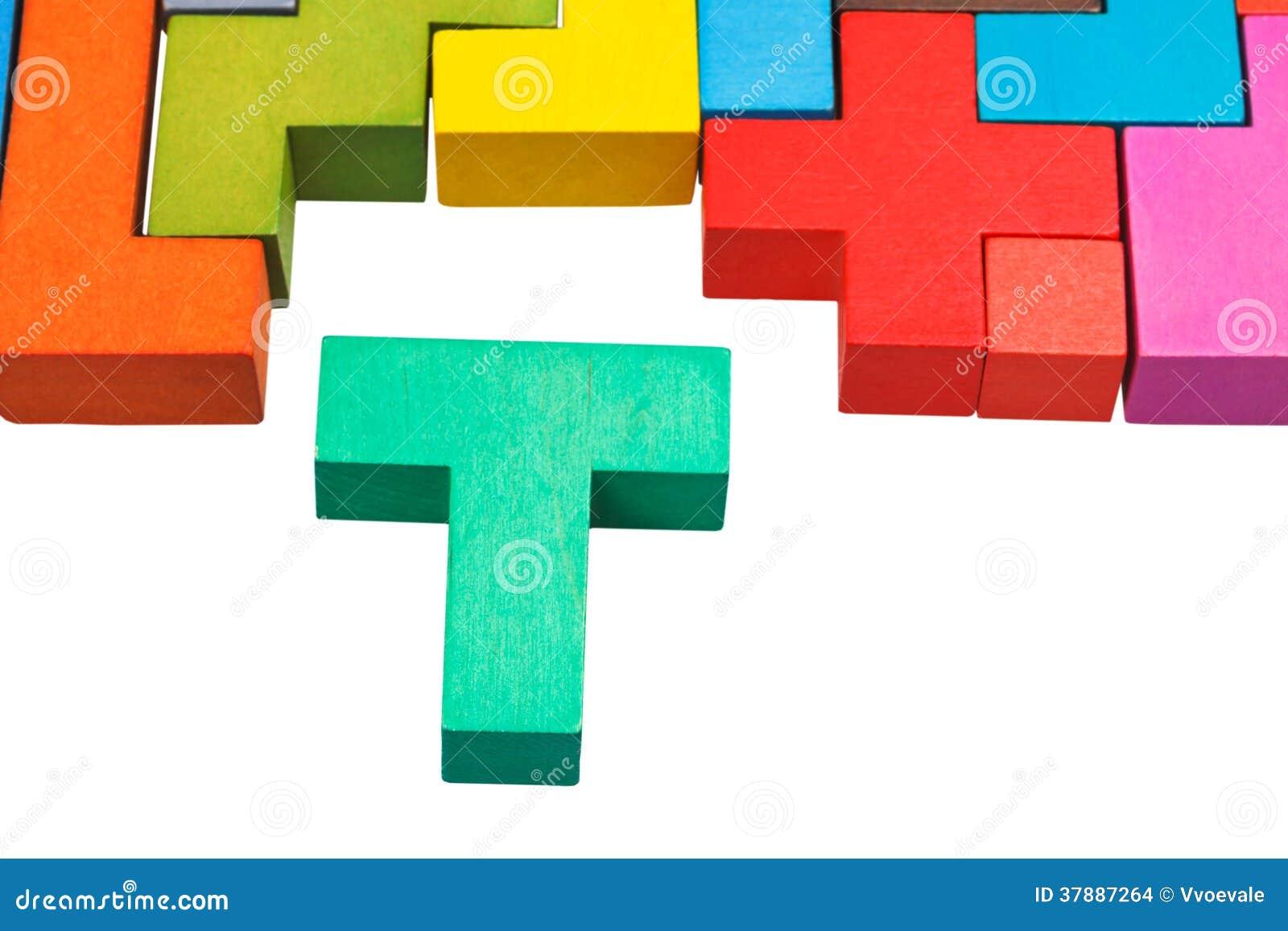 T-vormig blok en houten raadsel