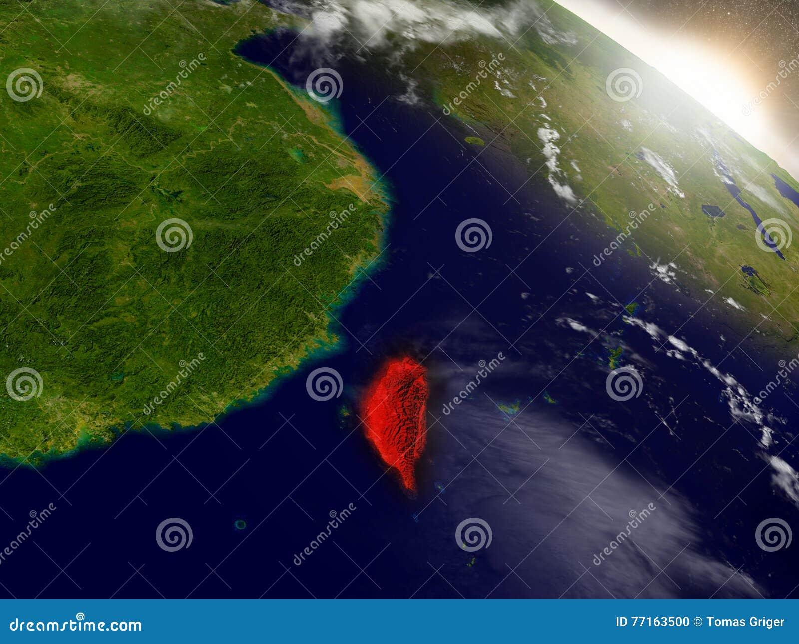 Taïwan de l espace accentué en rouge