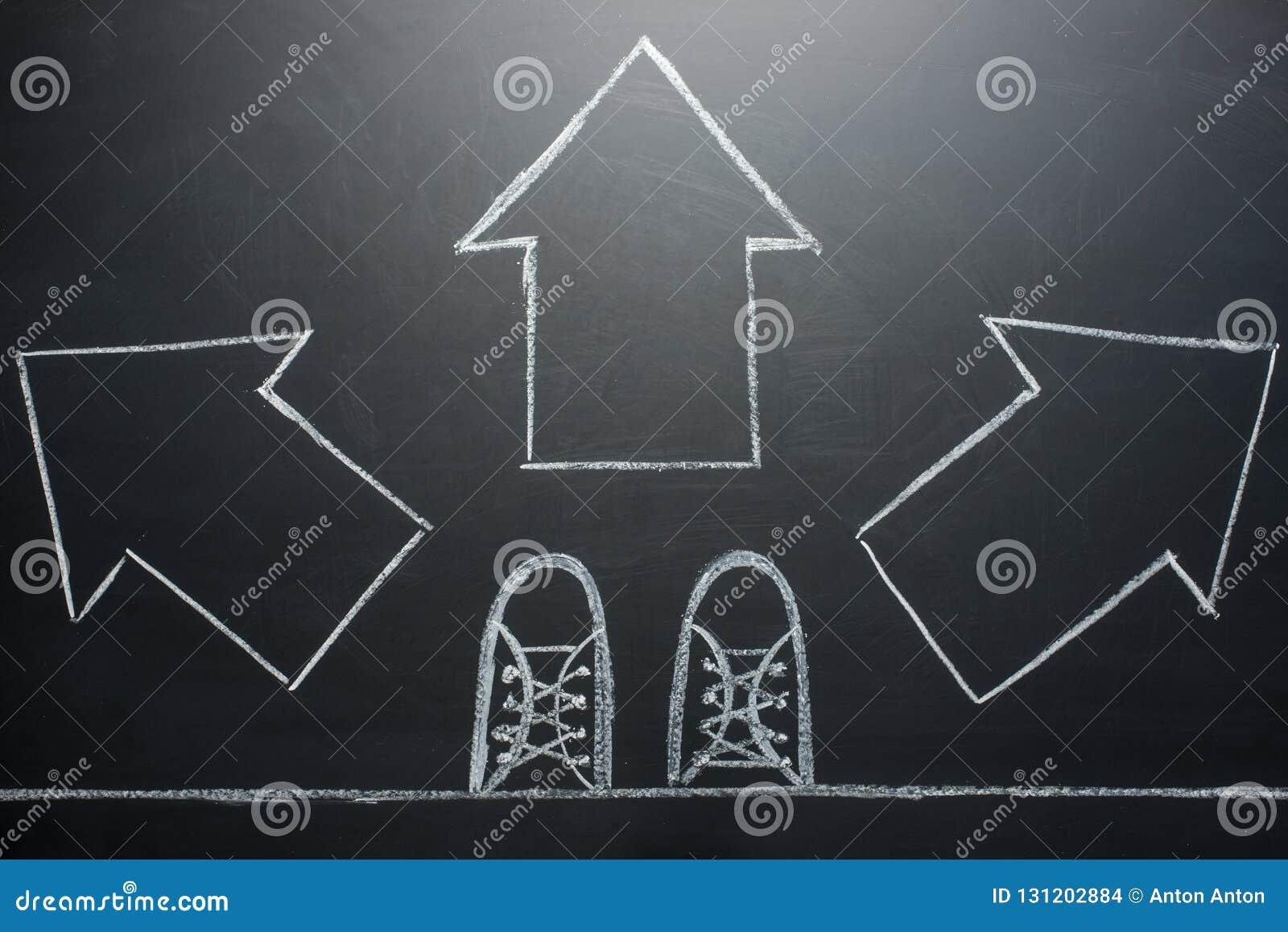 Ta beslut man anseendet med tre riktningspilval som lämnas, rätt eller flytta sig inför framtiden framåtriktat