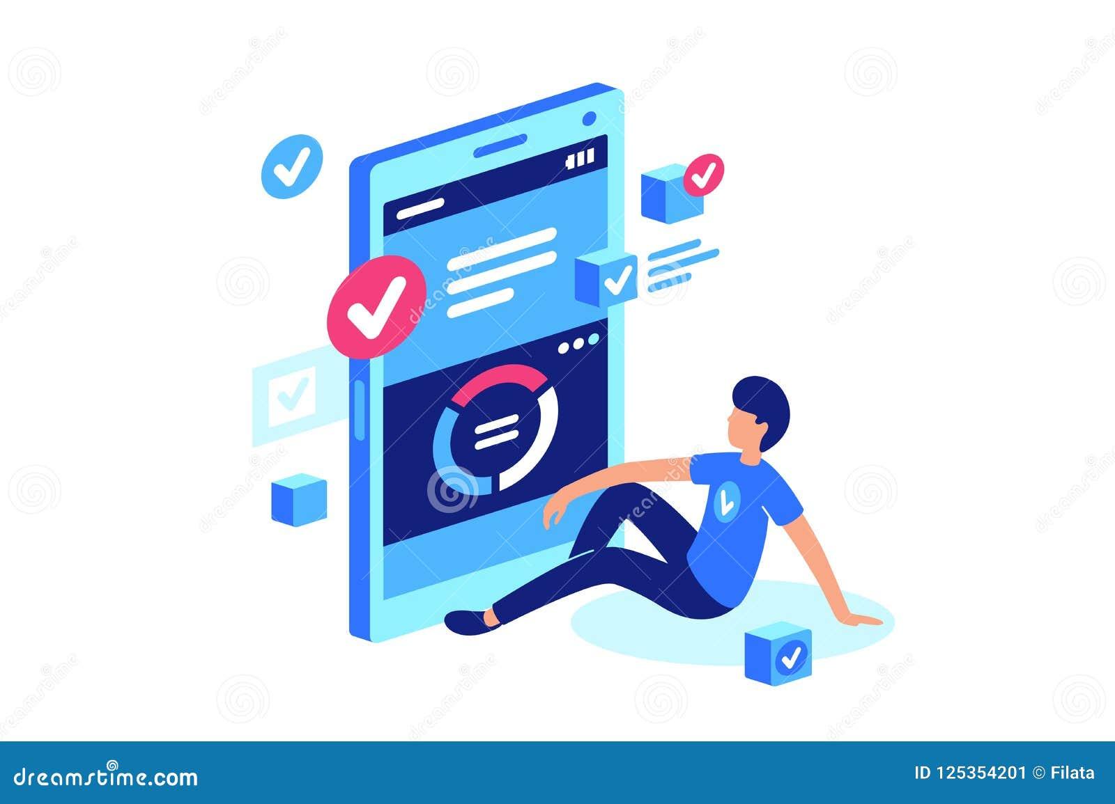 Taakmanager, het mobiele werk, online systeem
