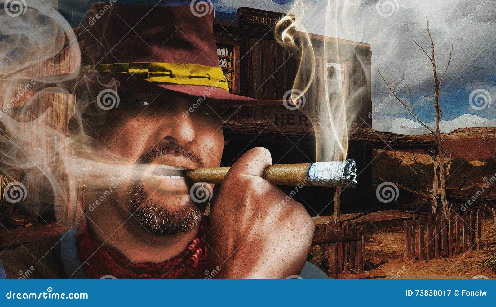 Tabac de tabagisme de cowboy grossier