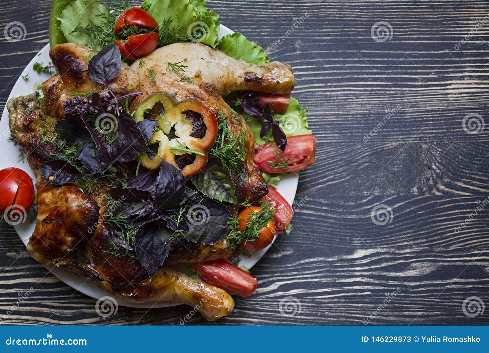 Tabaczny kurczak i Świezi warzywa