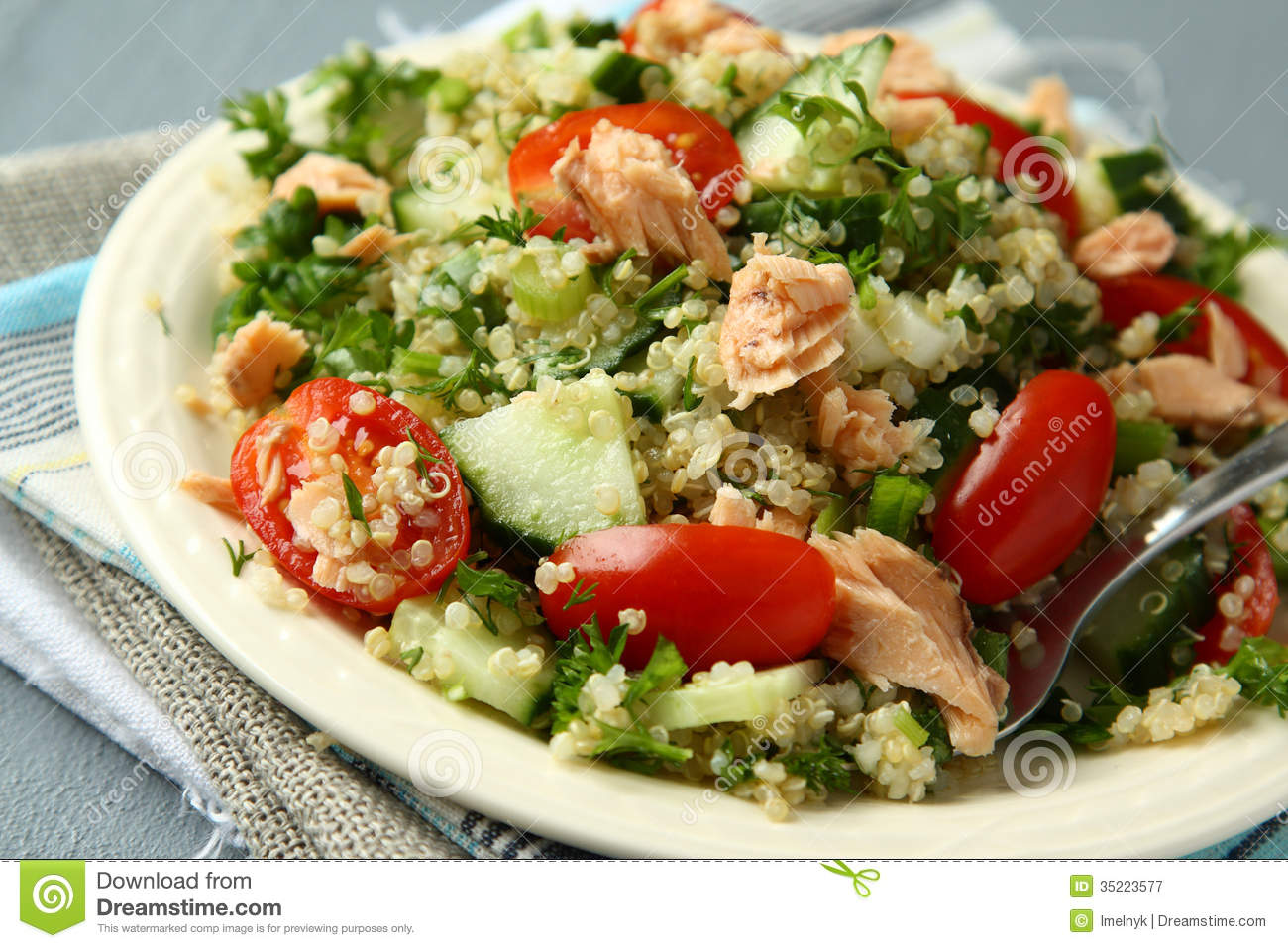 Tabbouleh Salad With Quinoa And Salmon Royalty Free Stock Photography ...
