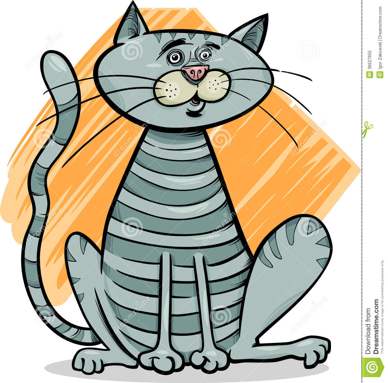 Tabby Gray Cat Cartoon Illustration Royalty Free Stock ... Tabby Cat Cartoon Drawing