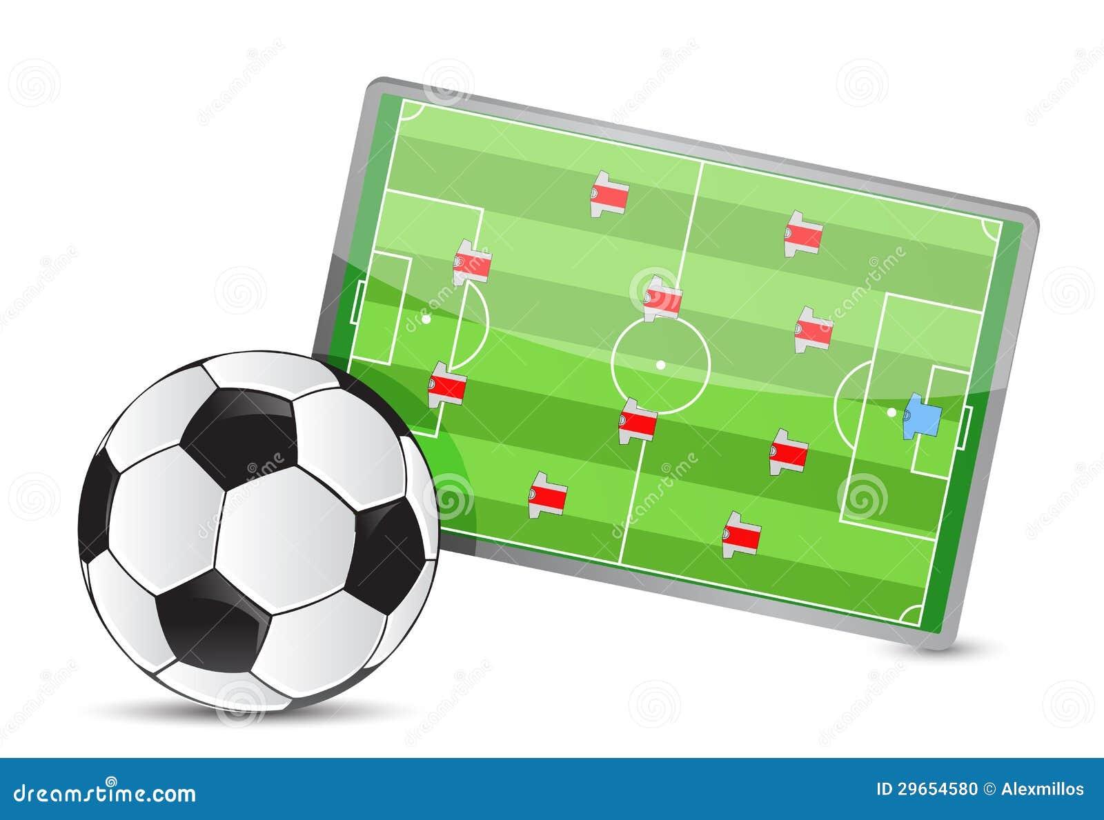 Tabela da tática do campo de futebol, bolas de futebol
