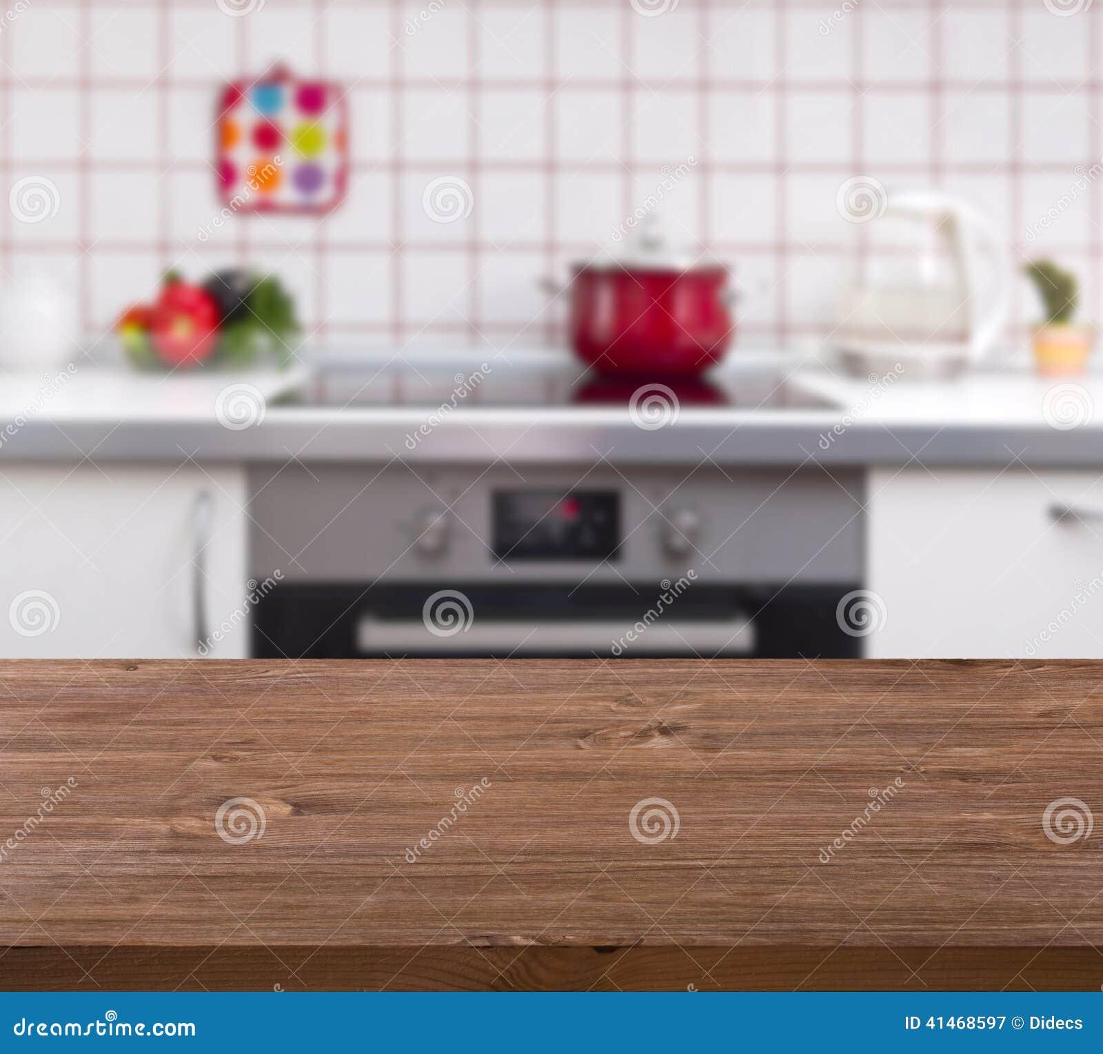Tabela De Madeira No Fundo Do Banco Da Cozinha Foto de Stock Imagem  #A52635 1300x1258