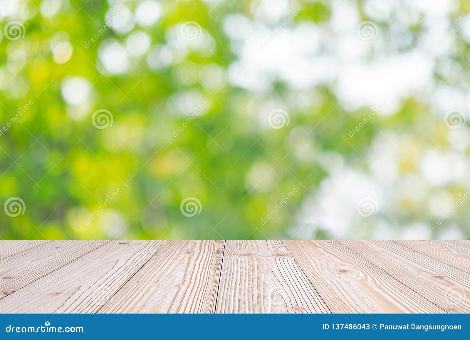 Tabela de madeira vazia no fundo natural verde no jardim exterior Zombe acima para sua exposição ou montagem do produto