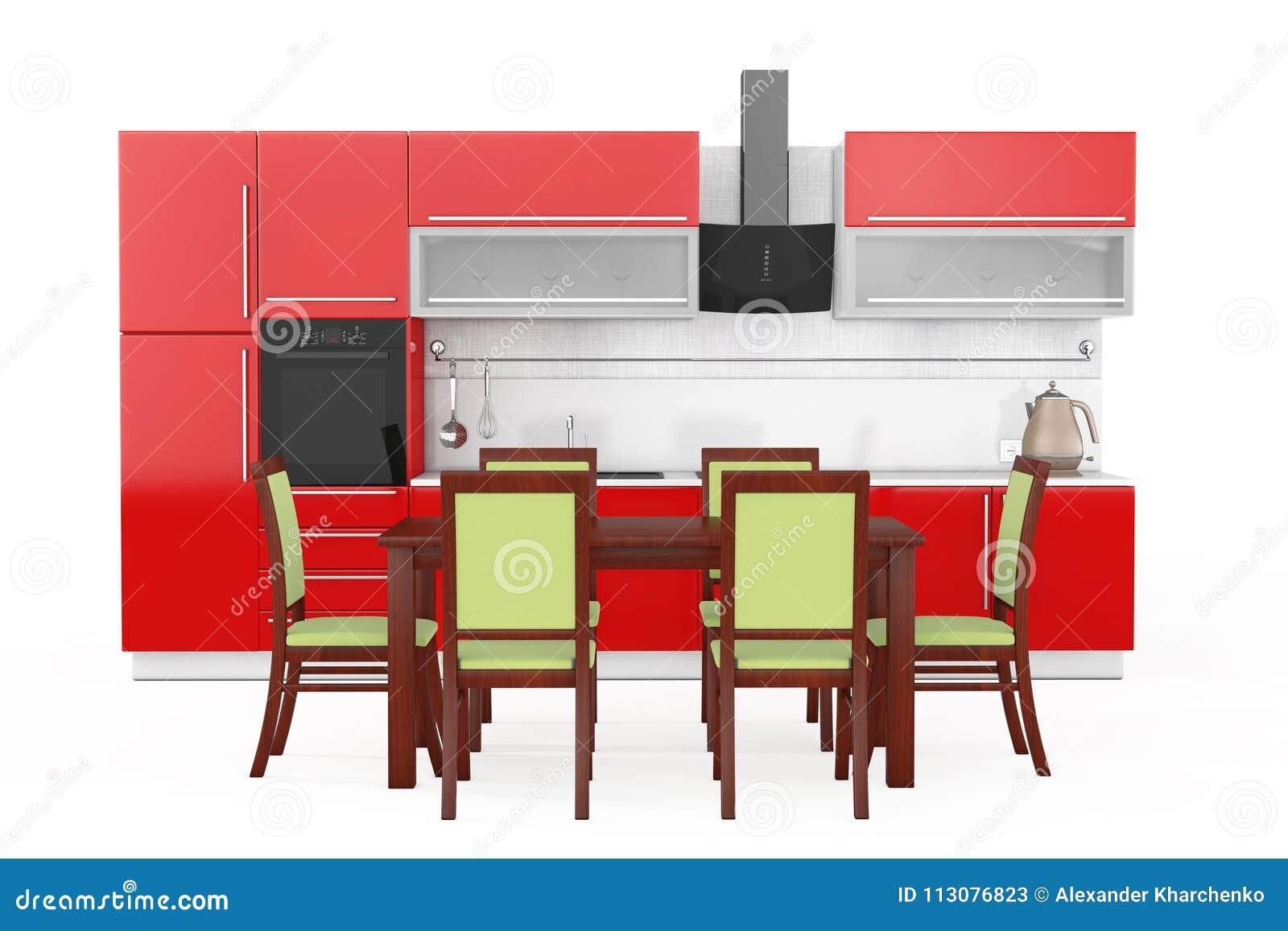 Tabela E Cadeiras Na Frente Da Mob Lia Vermelha Moderna Da Cozinha