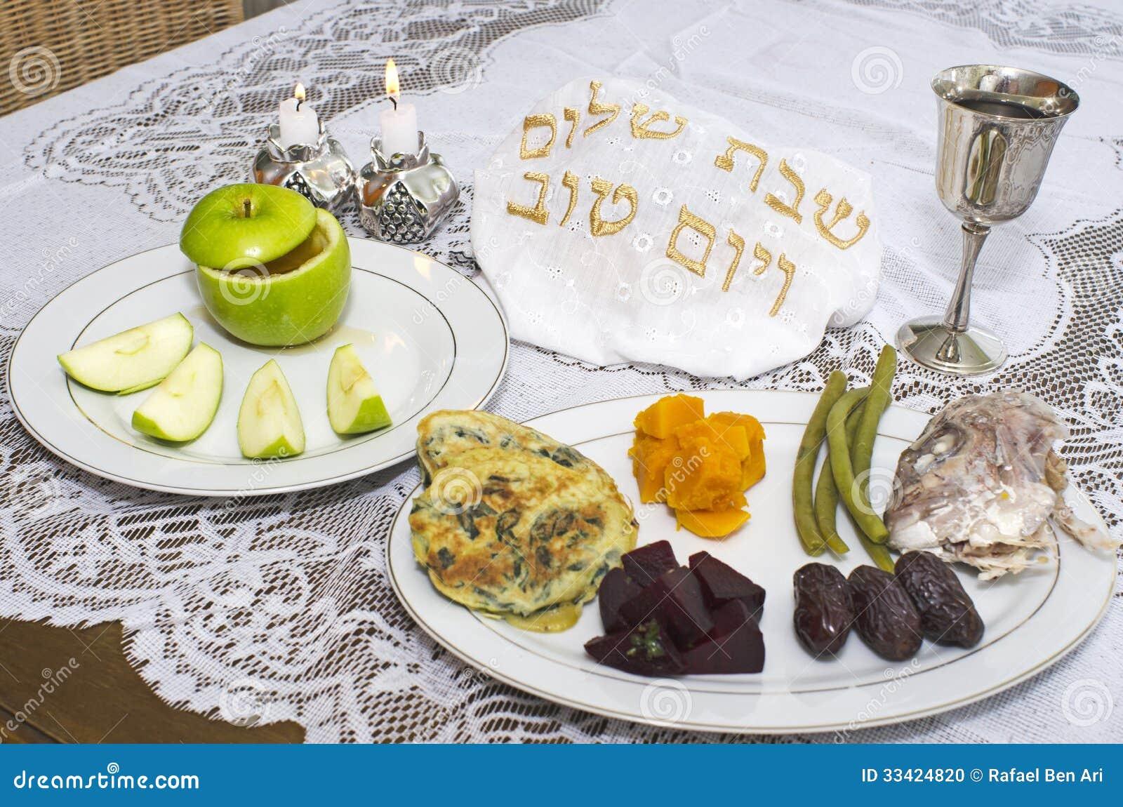 Tabela judaica de Seder do feriado de Rosh Hashanah