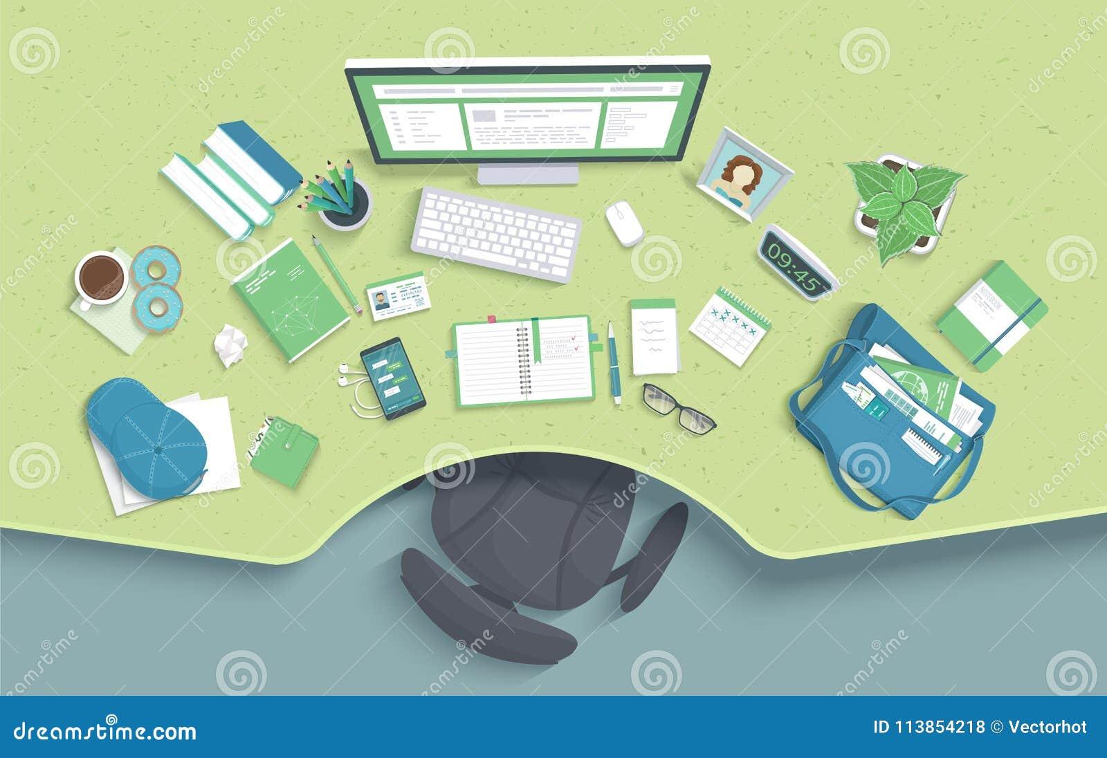 Tabella con la cavità, sedia, monitor, libri, taccuino, cuffie, telefono Posto di lavoro moderno ed alla moda Vettore
