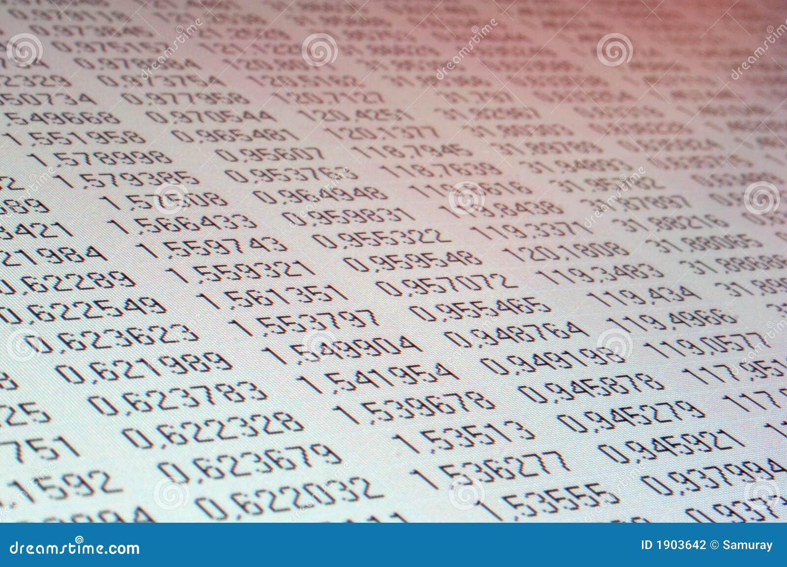 Tabella di dati del calcolatore