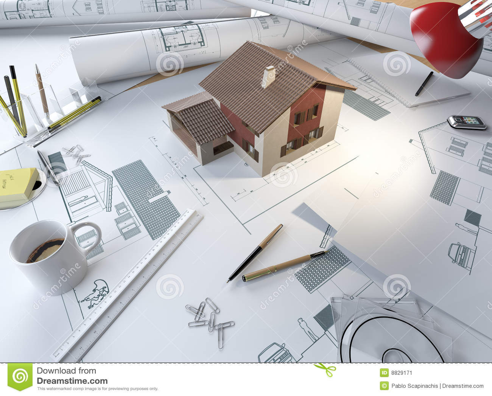 tabella di illustrazione dell 39 architetto con il modello 3d