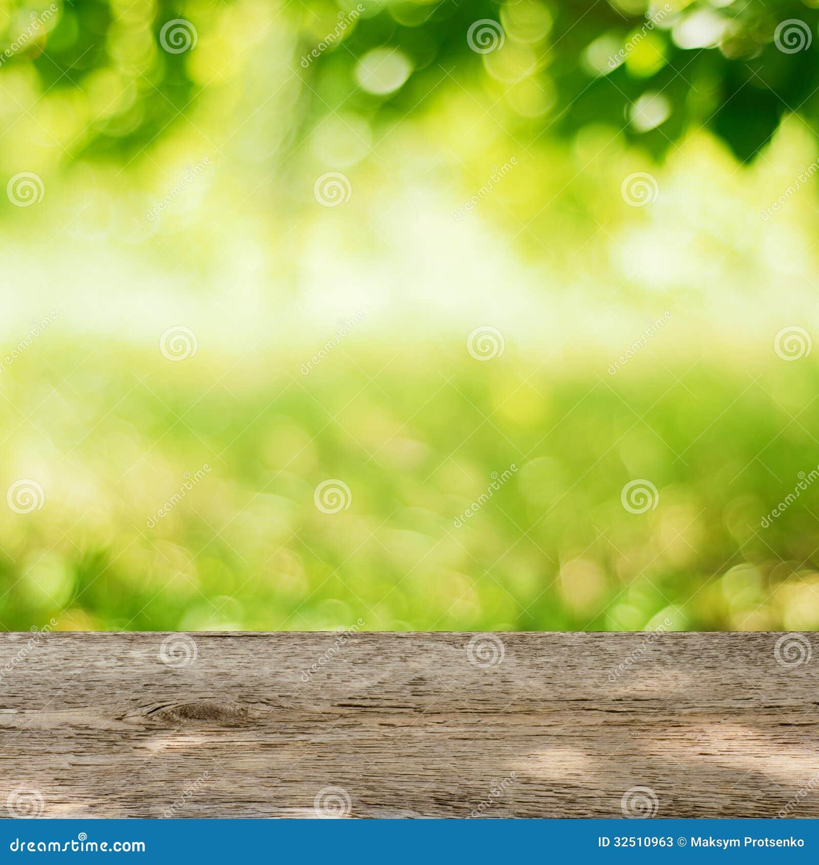 Tabella di legno vuota nel giardino con fondo verde intenso