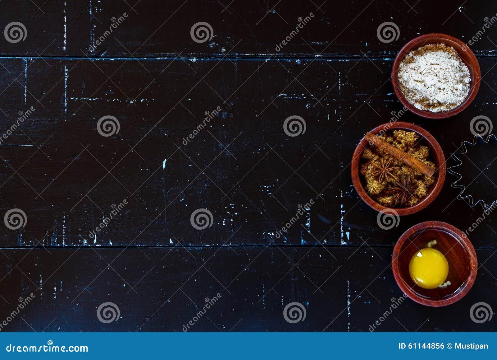 Tabelle mit Backenbestandteilen