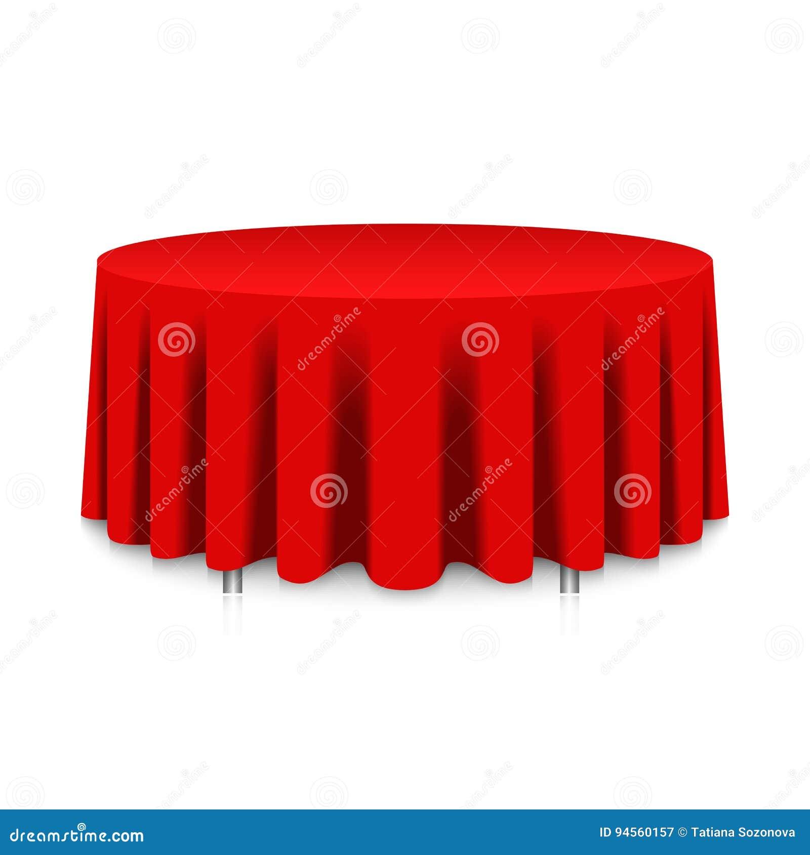 Tabelle mit roter Tischdecke