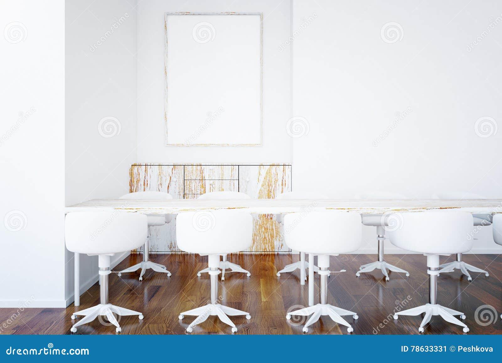 Tabelle, Stühle Und Leerer Bilderrahmen Stock Abbildung ...