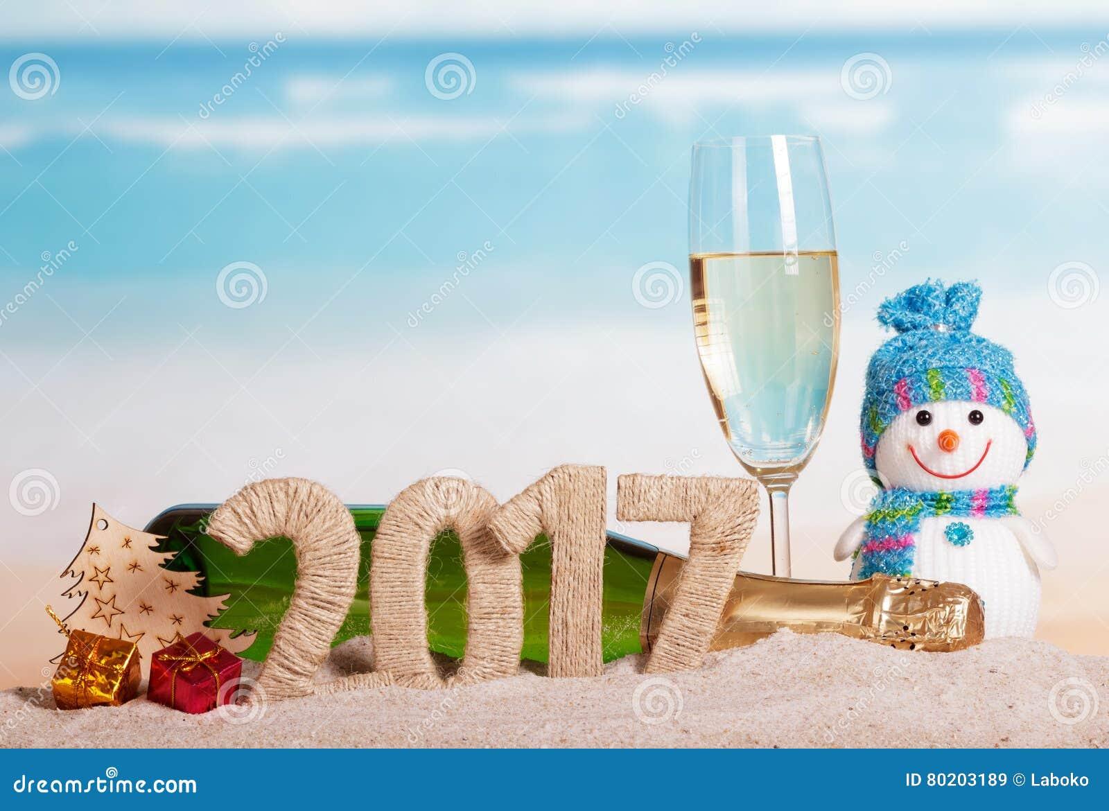 Tabellen 2017, Flaschenchampagner, Glas, Schneemann, Baum, Geschenke ...