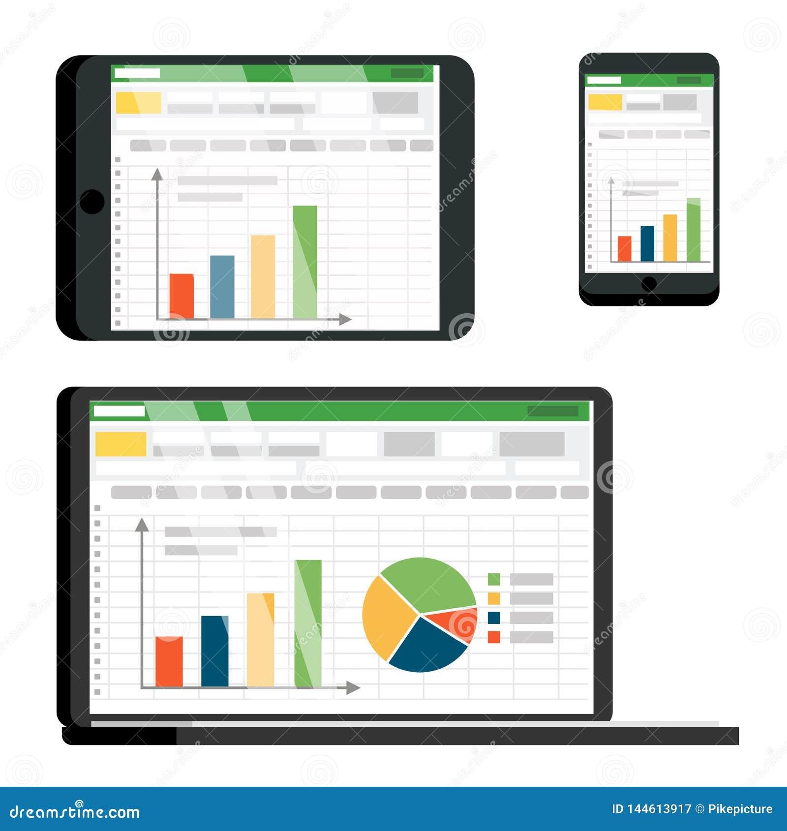 Tabellen-tabelle Auf Tablet  Smartphone-vektor-schirm-satz Vektor Abbildung
