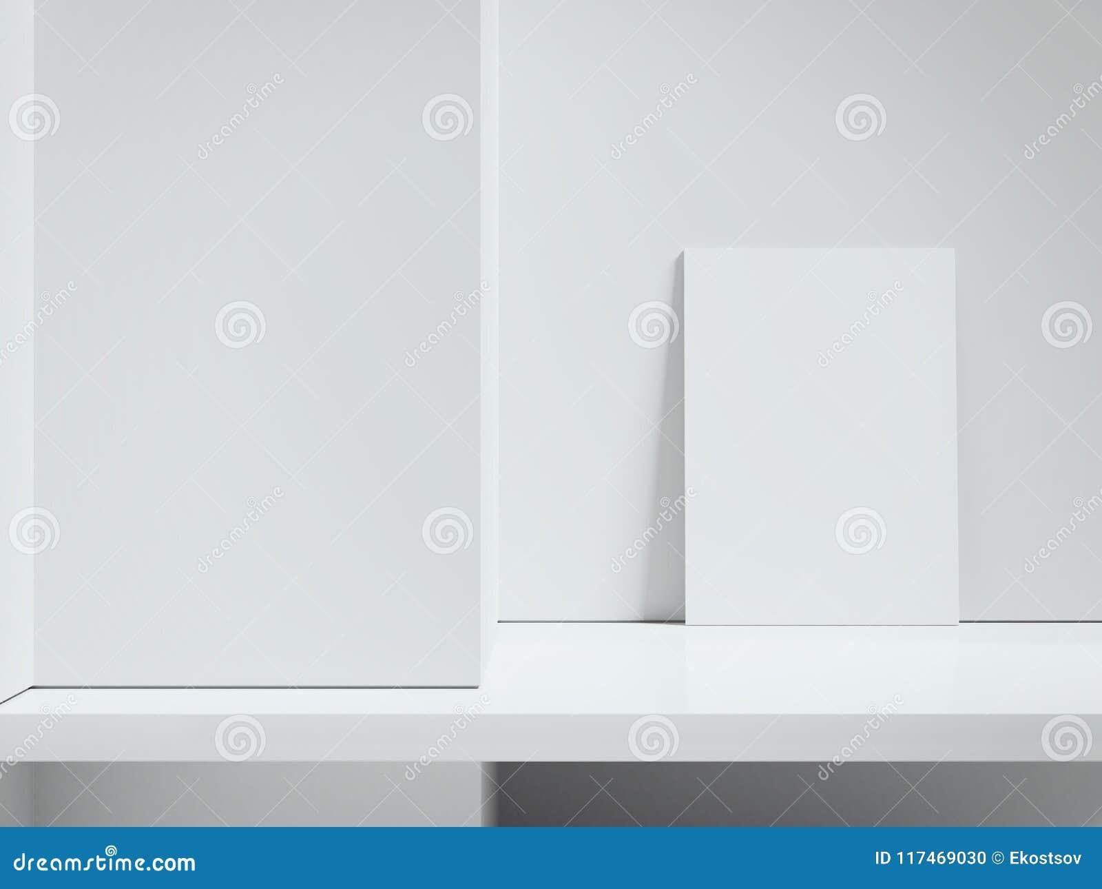 Tabellone per le affissioni dell interno in bianco accanto alle pareti bianche, rappresentazione 3d