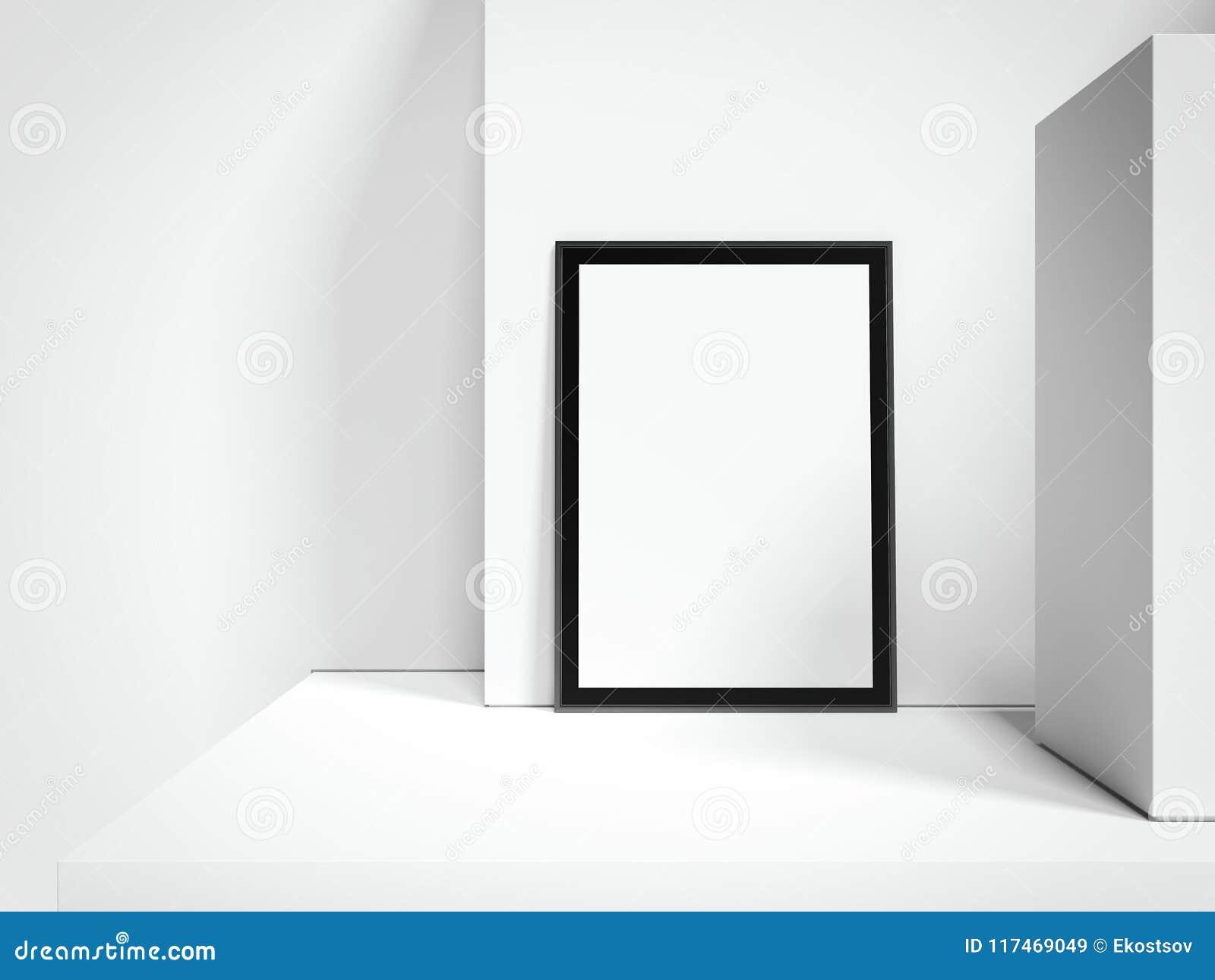 Tabellone per le affissioni dell interno luminoso in bianco con la struttura nera accanto alle pareti bianche, rappresentazione 3