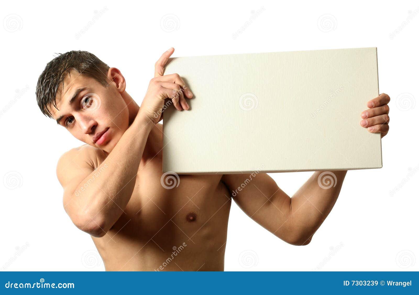 Tabellone per le affissioni sexy dello spazio della copia della holding dell uomo