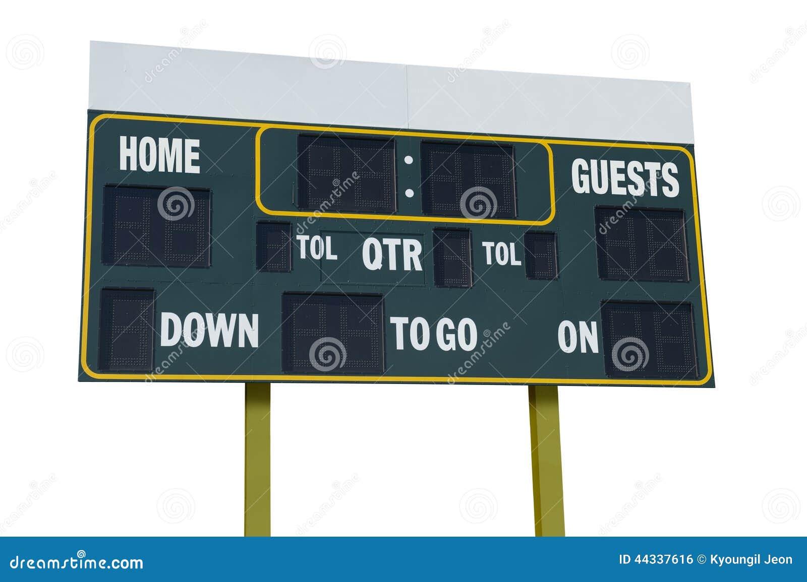 Schema Elettrico Per Tabellone Segnapunti : Tabellone segnapunti di football americano fotografia