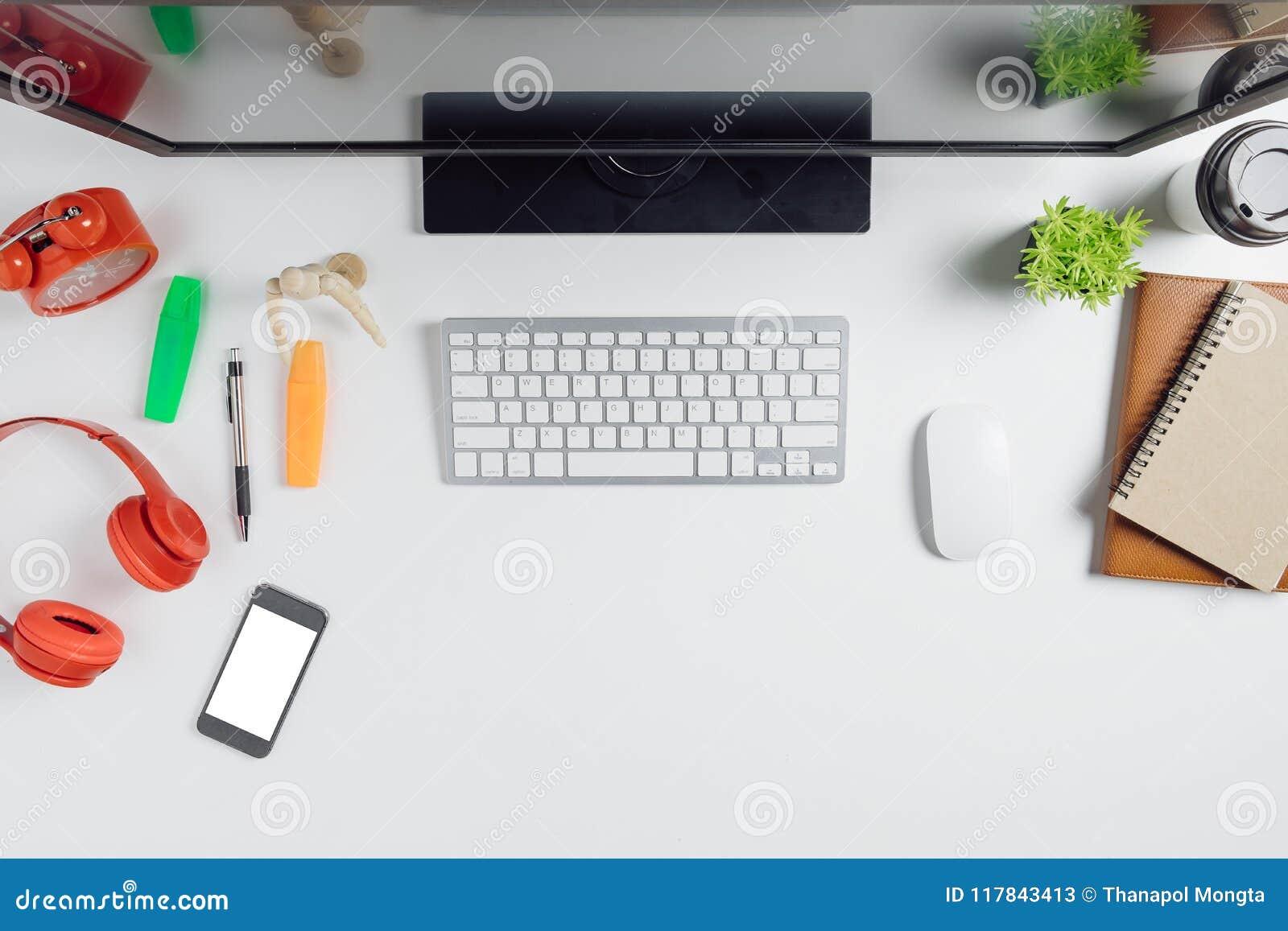 Elegantes Escritorios De Oficina Modernos.Tabla Blanca Moderna Del Escritorio De Oficina Con El