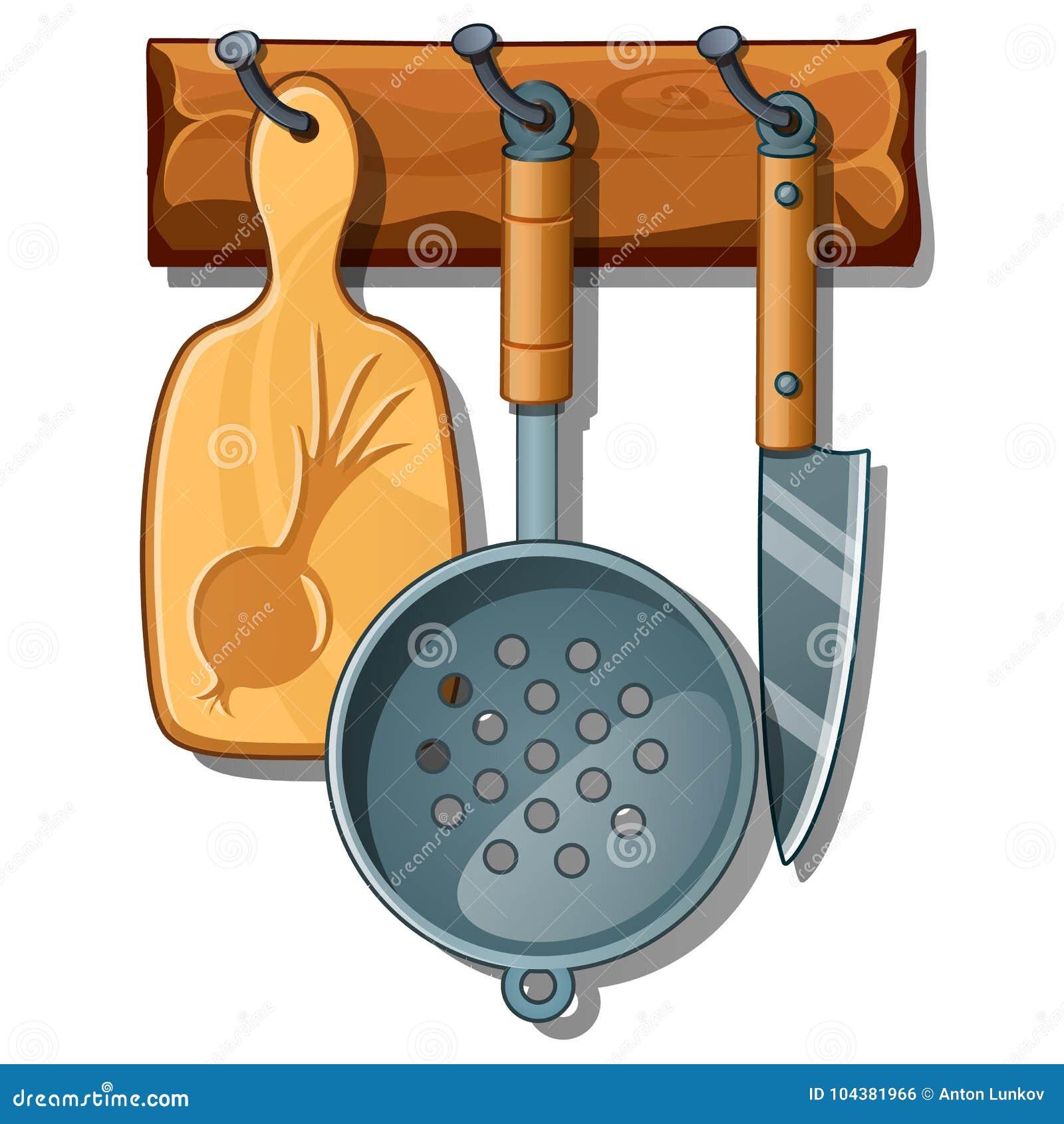 Tabla De Cortar, Colador, Cuchillo Sistema De Instrumentos De La ...