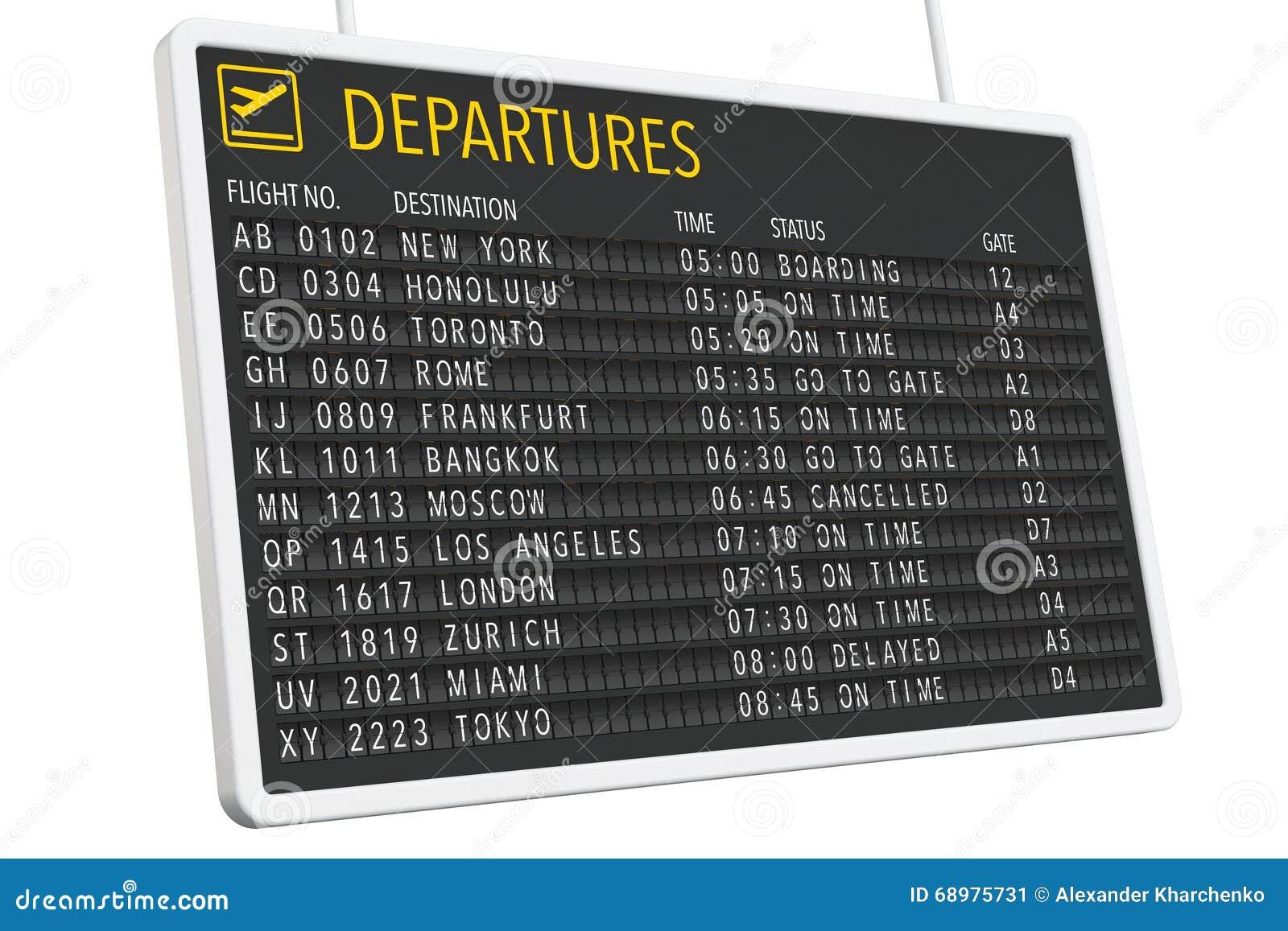 Tabla de las salidas del aeropuerto