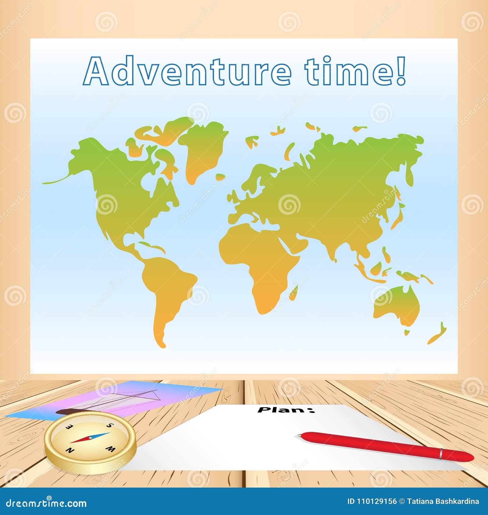 Tabla de madera con la hoja de papel en blanco para planear el viaje, pluma roja, p