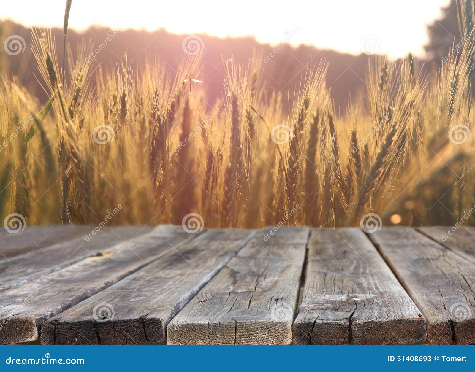 Tabla de madera del tablero delante del campo del trigo en luz de la puesta del sol Aliste para los montajes de la exhibición del