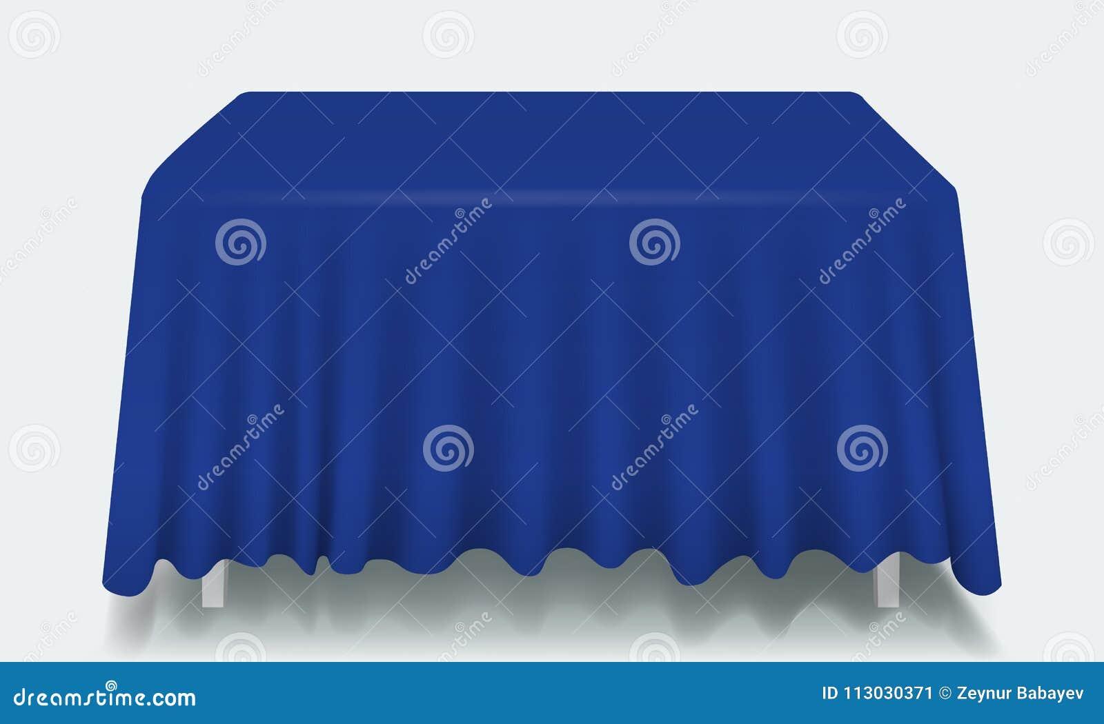 Tabla rectangular vacía azul del vector con el mantel