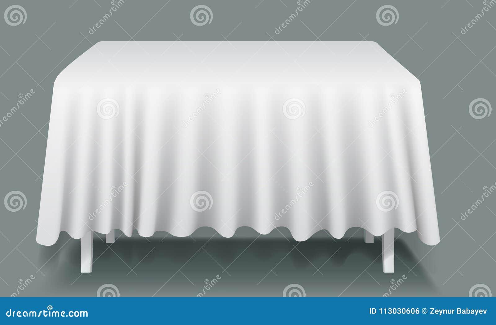 Tabla rectangular vacía blanca del vector con el mantel