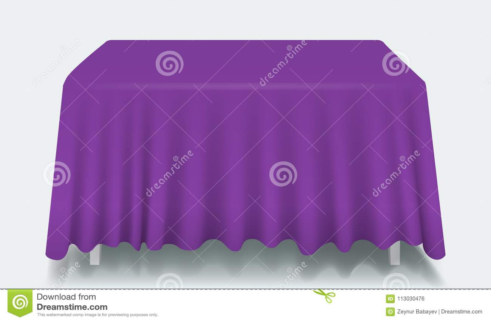Tabla rectangular vacía violeta del vector con el mantel