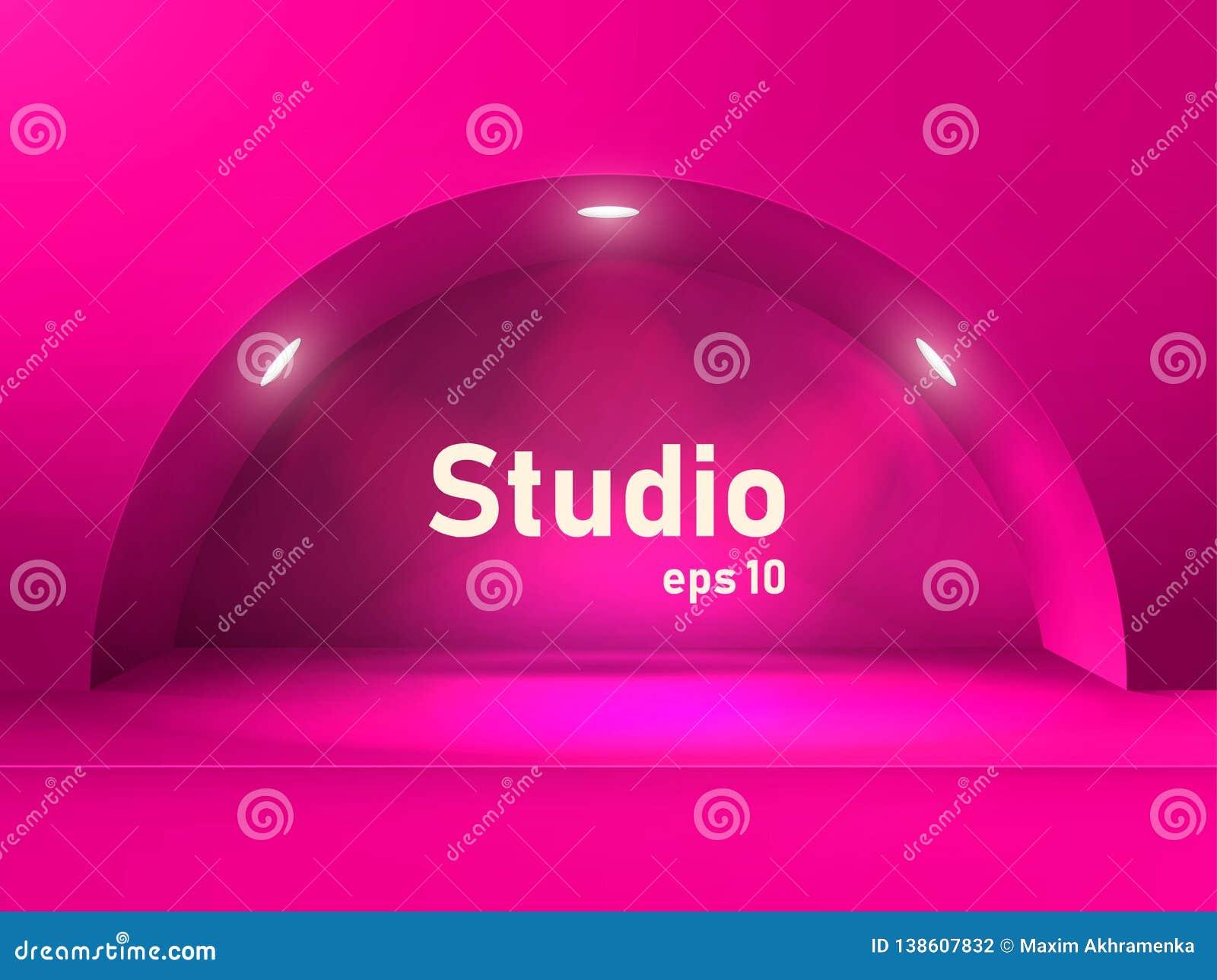 Tabla rosada vacía del estudio con un arco y una hendidura iluminados por las linternas Espacio libre para la presentación del pr