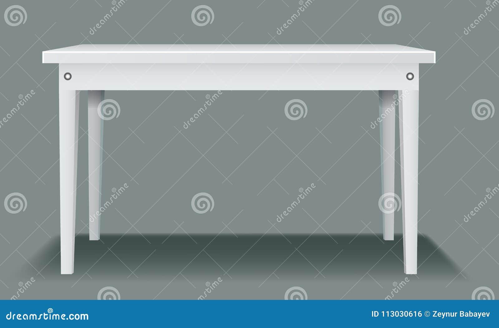 Tabla vacía blanca con cuatro piernas y vista lateral