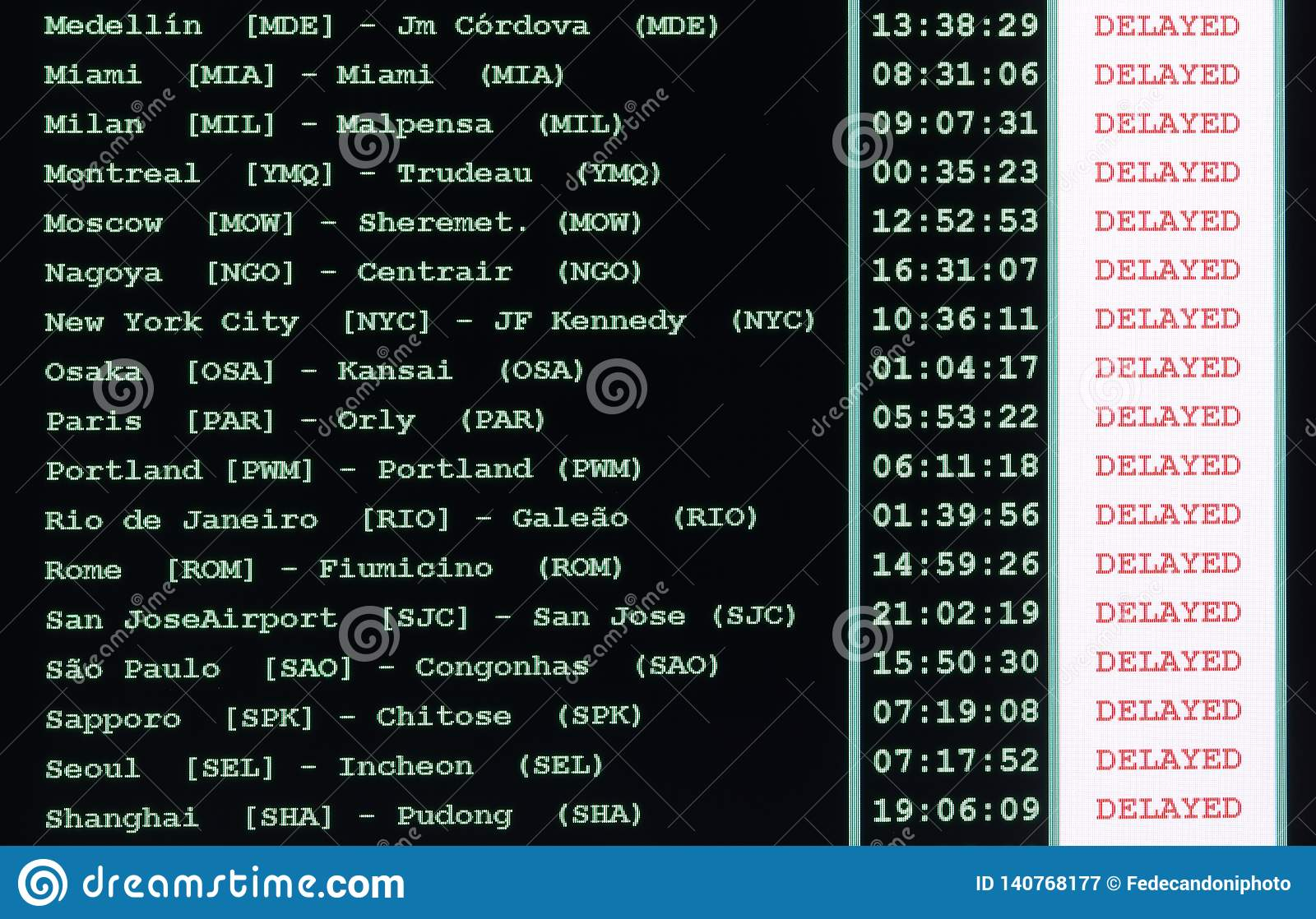 table of the airport timetable with all the canceled flights